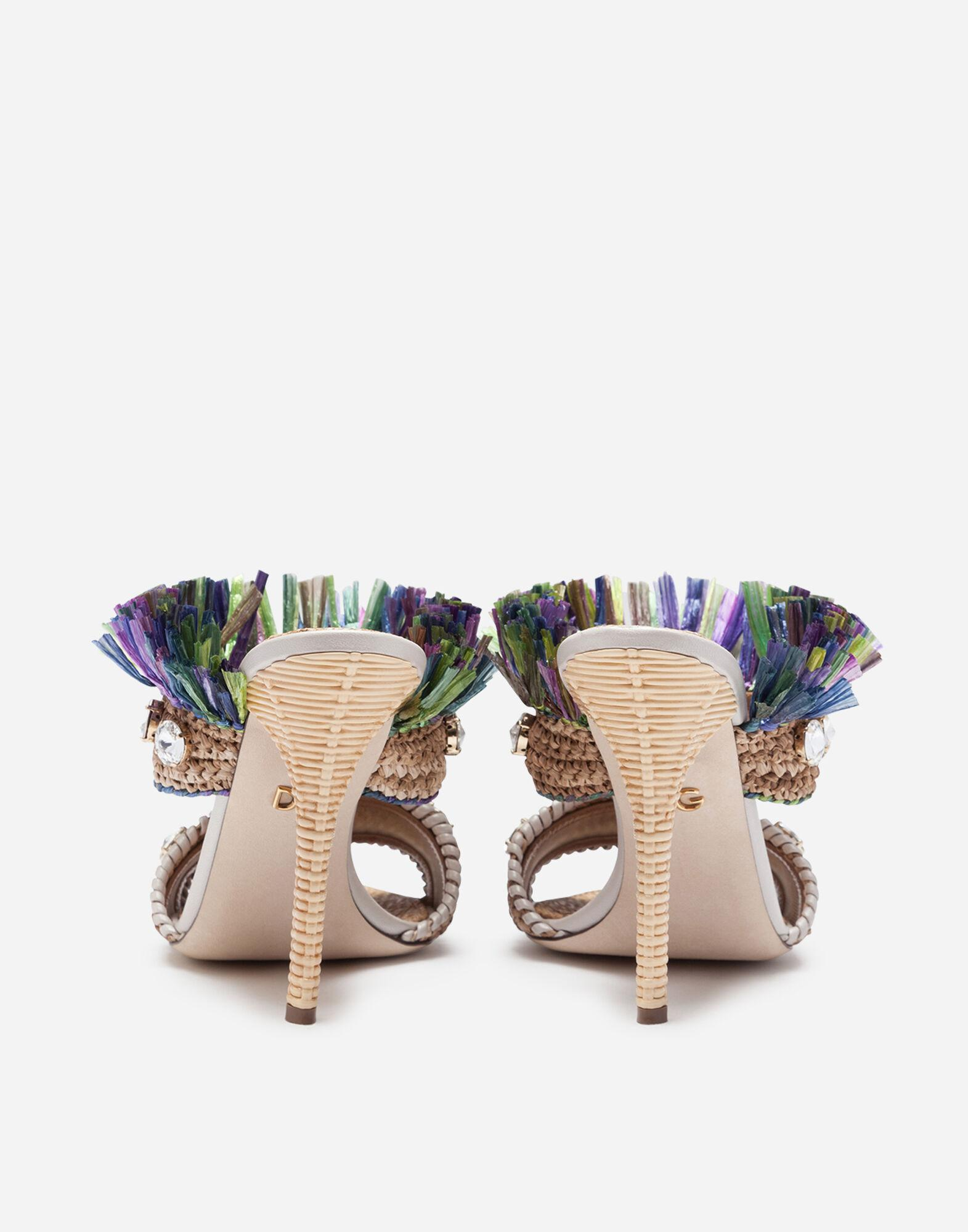 Mules in straw with bejeweled embroidery 2