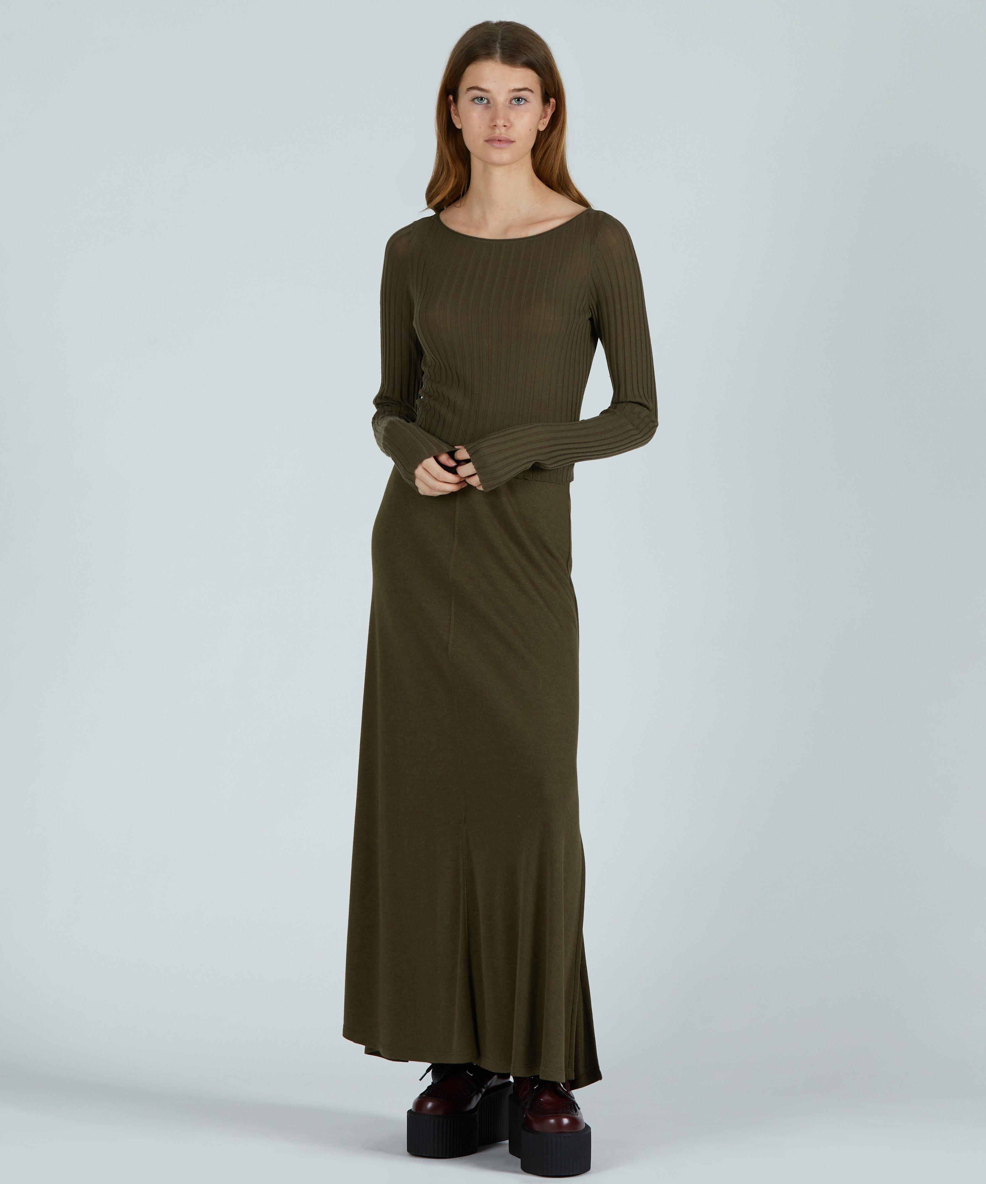 Wide Rib Cropped Boat Neck Sweater - Olive Heather 3