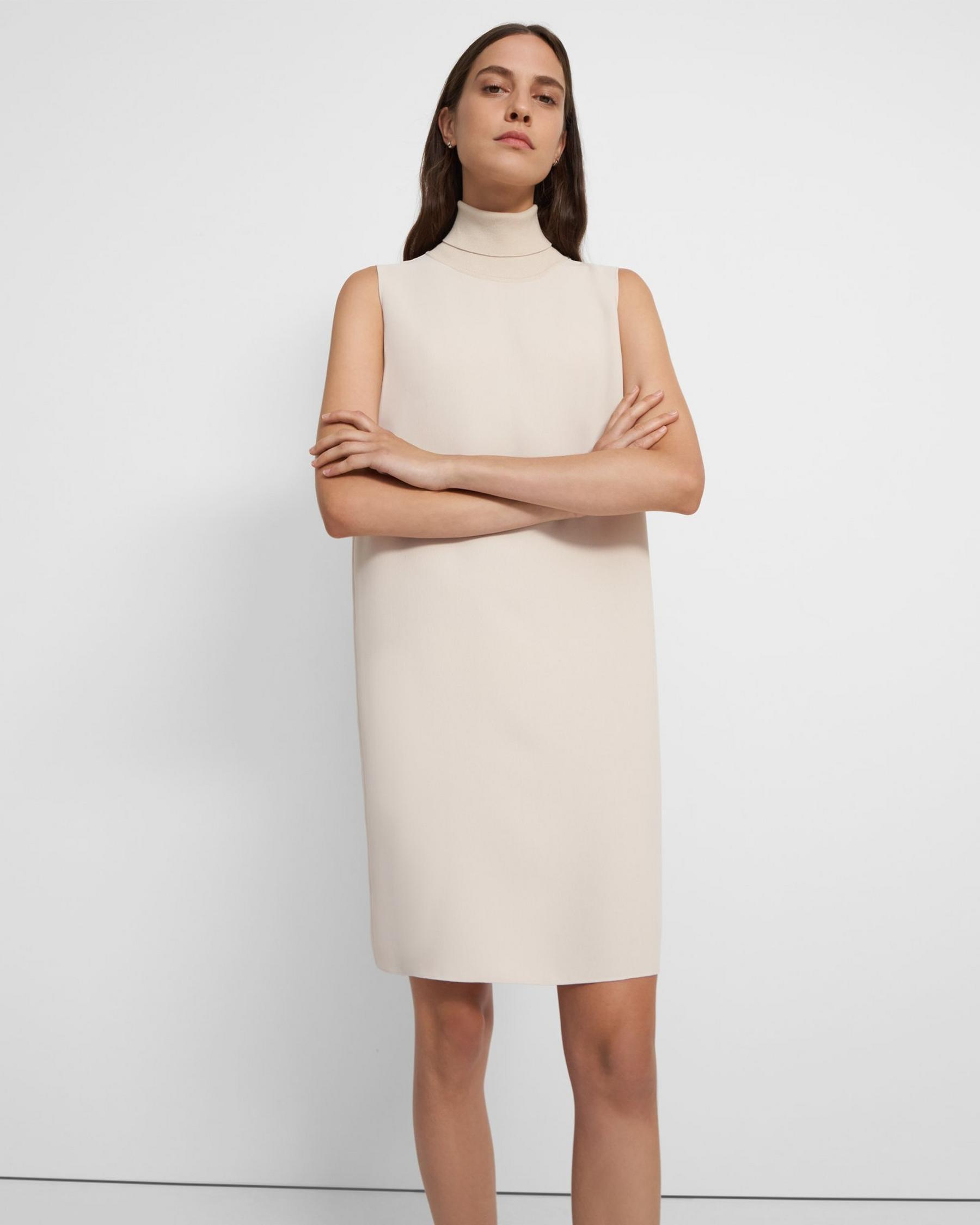 Roll Neck Dress in Crepe