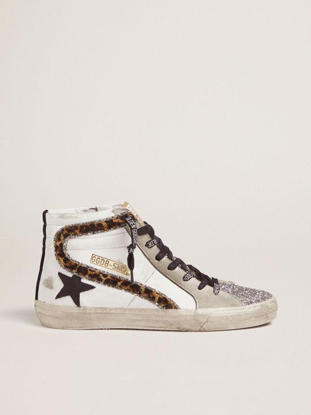 Slide sneakers with glitter and leopard-print flash