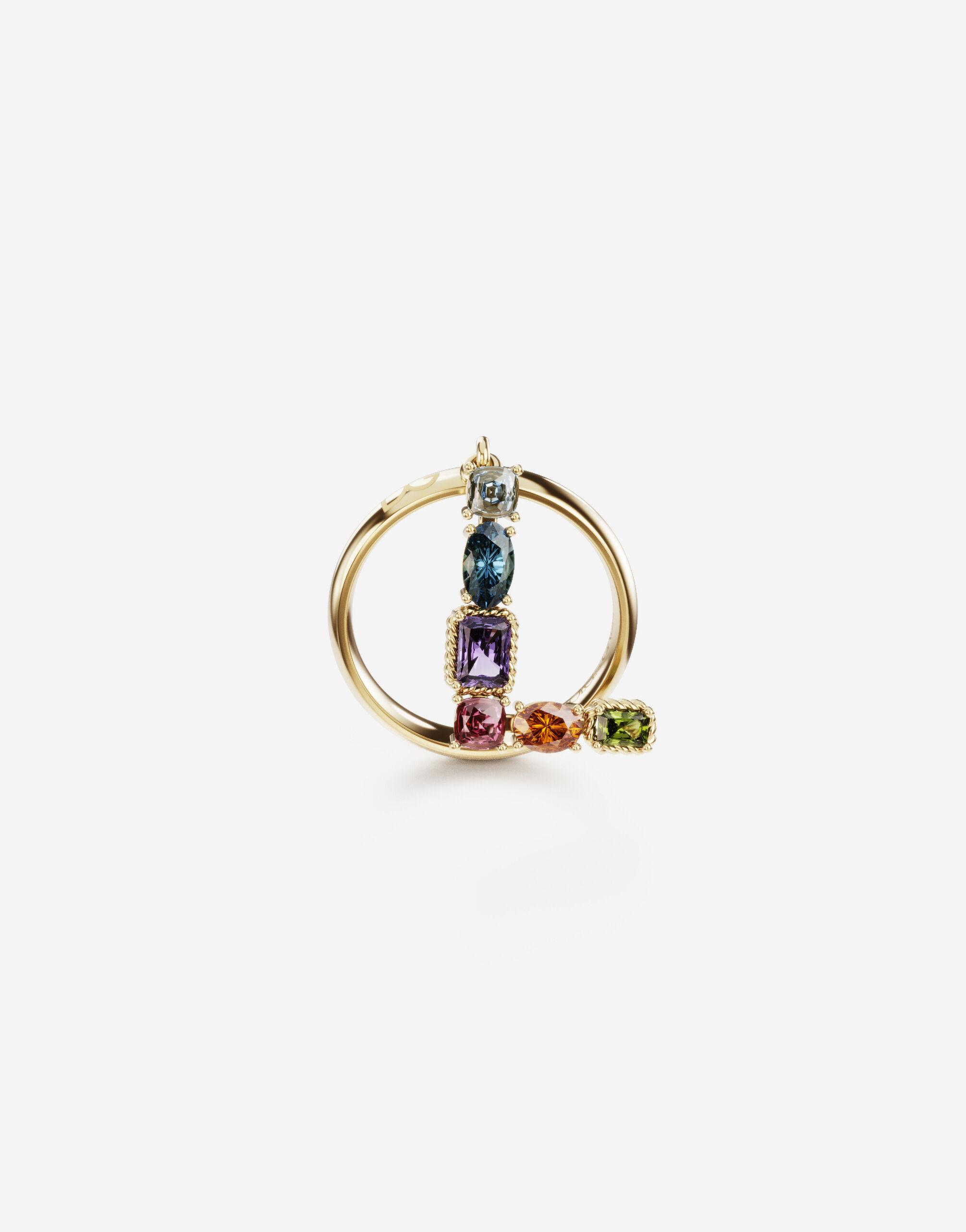 Rainbow alphabet L ring in yellow gold with multicolor fine gems