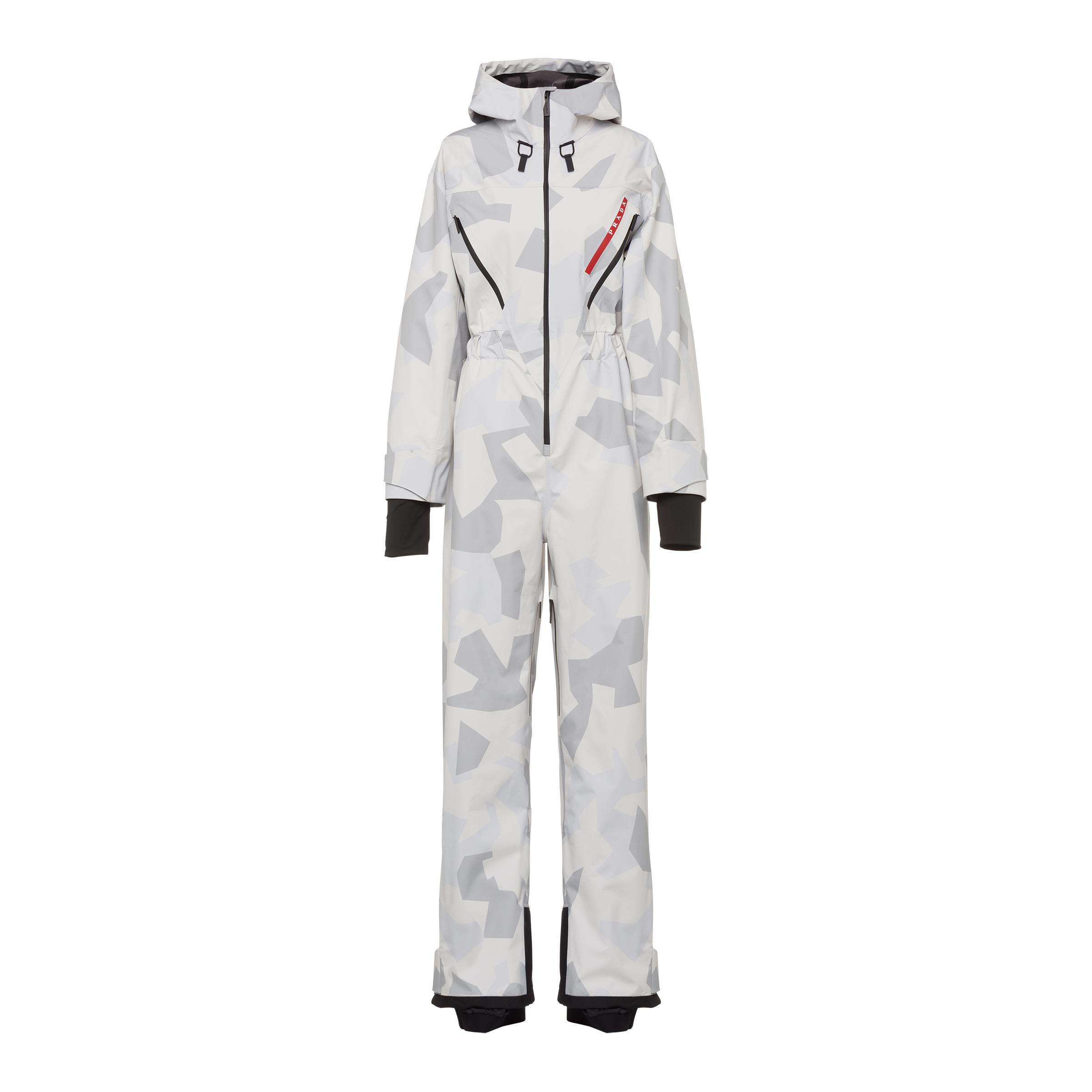 Camouflage Print Technical Fabric Ski Suit Women Marble Gray
