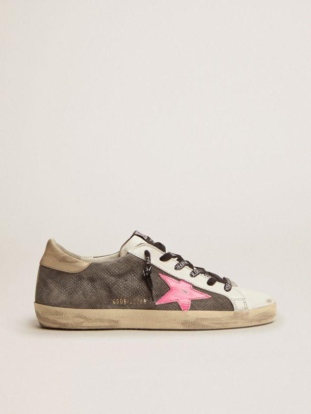 Super-Star LTD sneakers with snake-print suede upper and gold laminated leather heel tab
