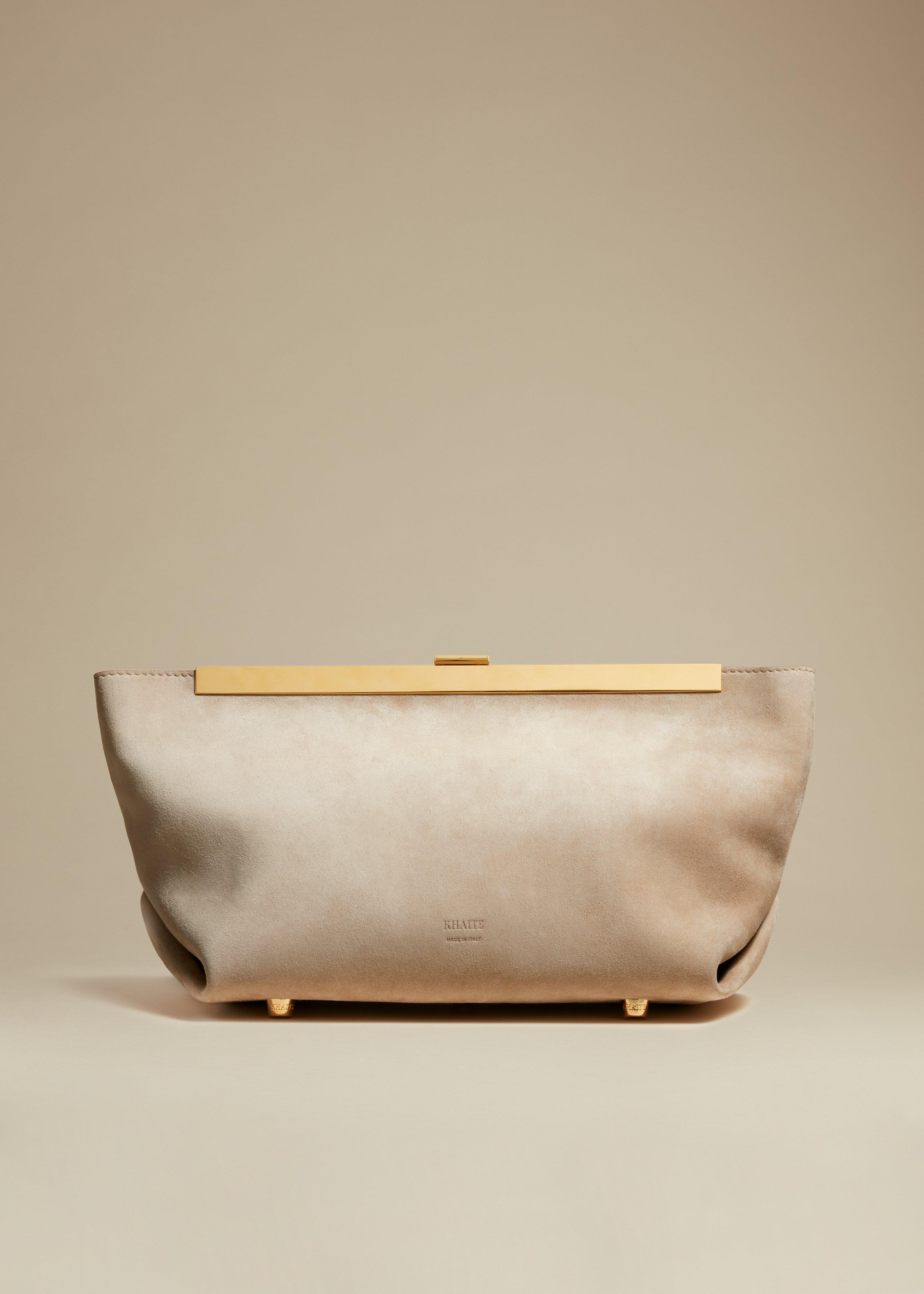 The Aimee Clutch in Biscuit Suede