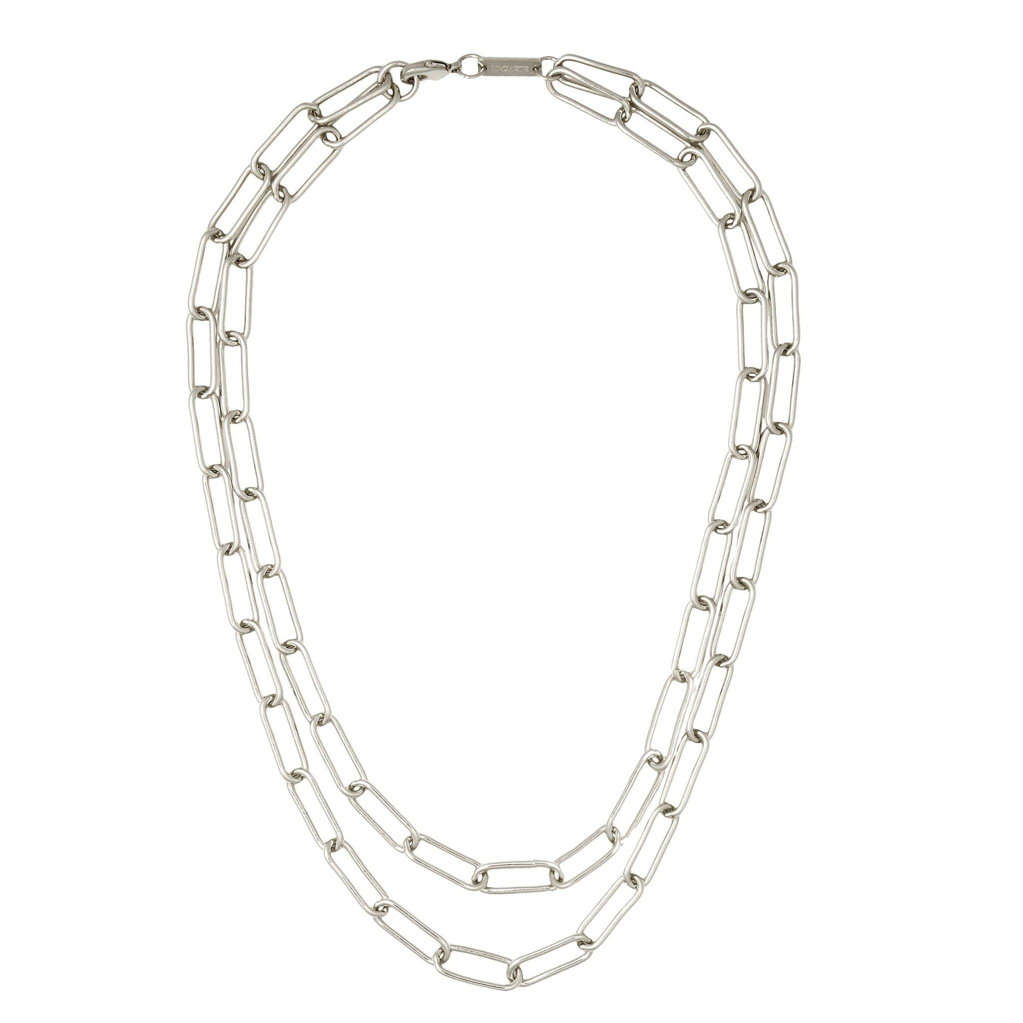 Paperclip Chain Layered Necklace in Silver