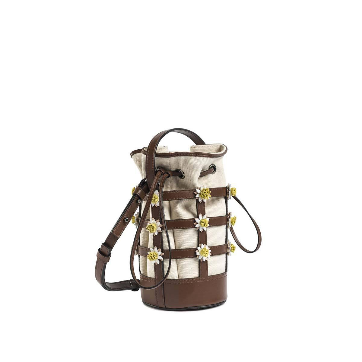 Miss Daisy Bucket Bag with Canvas Pouch - Brown Nappa 1