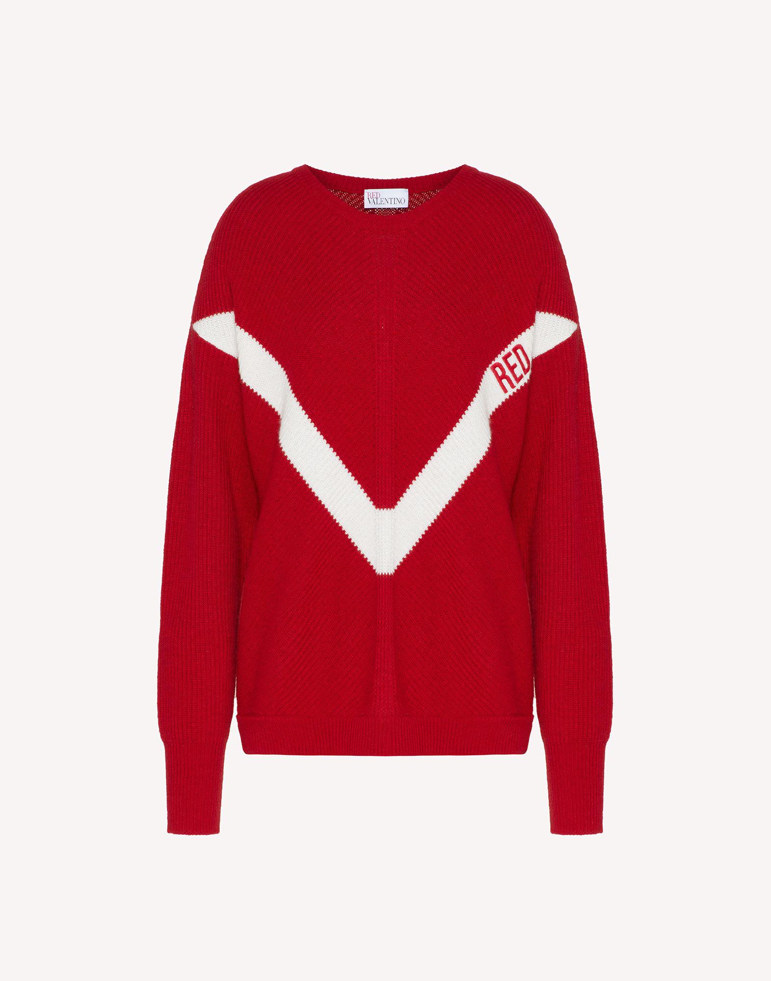 RED EMBROIDERED WOOL-BLEND SWEATER 4