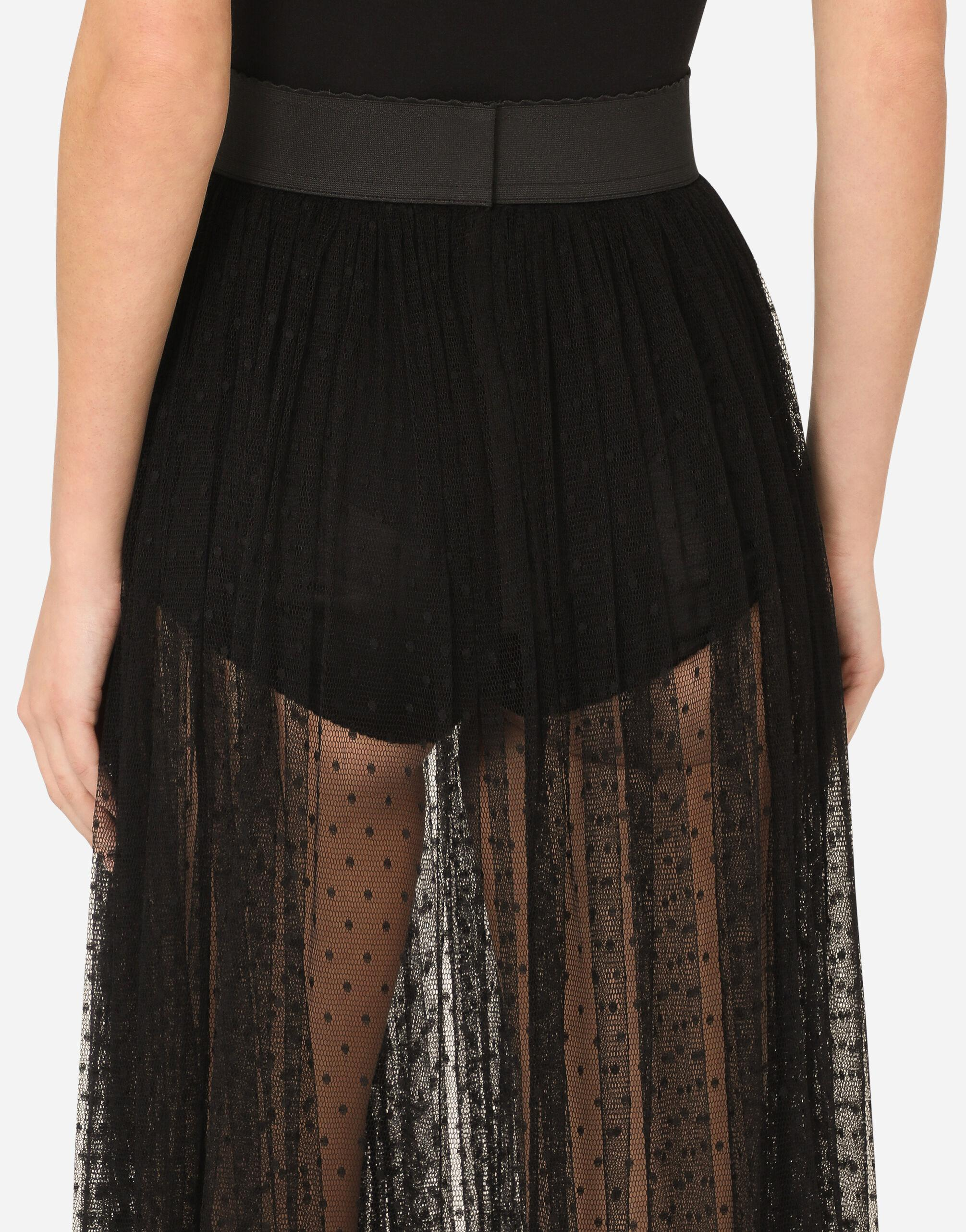 Pleated calf-length skirt in chantilly lace and plumetis 5