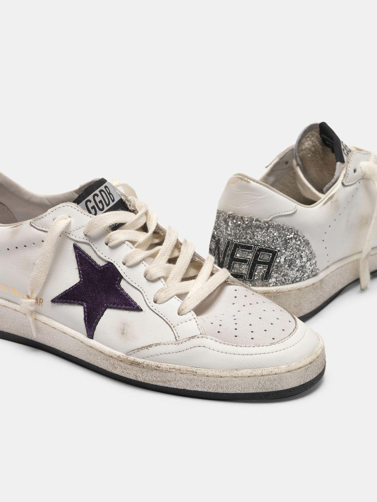 Ball Star sneakers with metallic purple star and glitter back 3