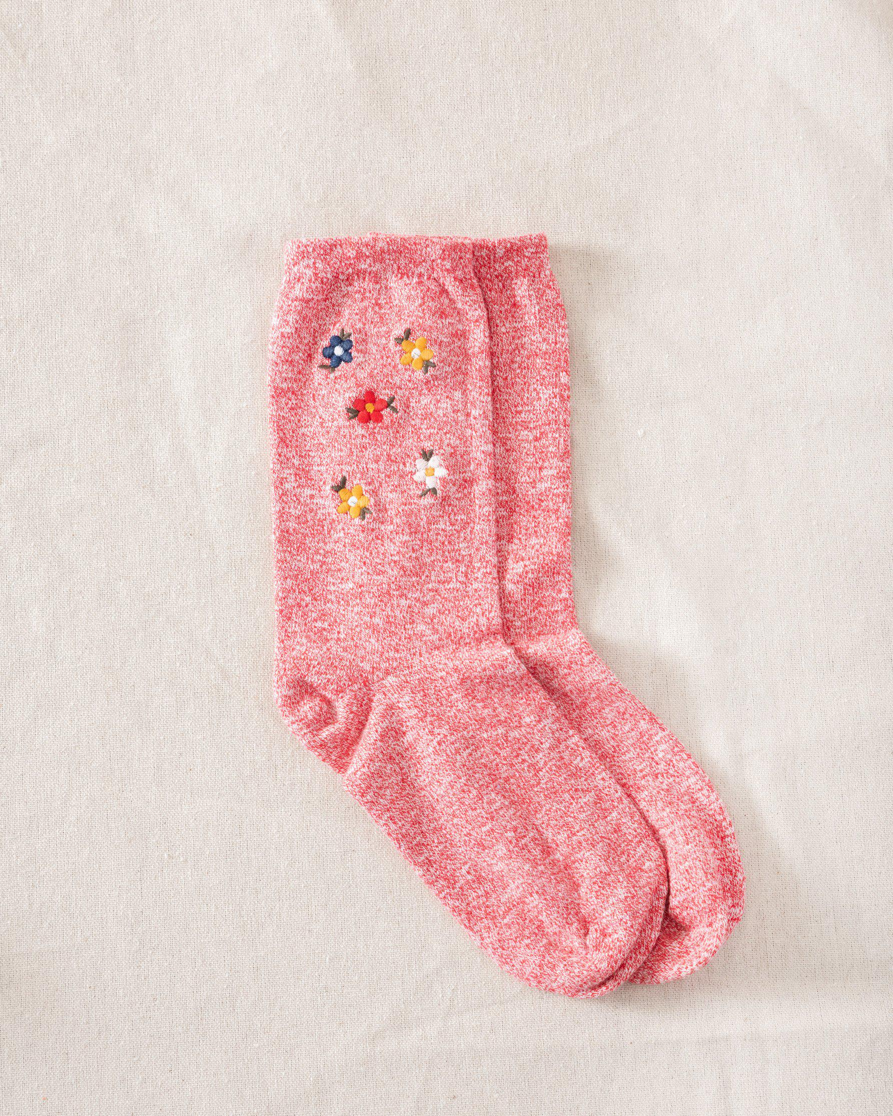 The Great Floral Embroidered Sock. -- Red with Multi Floral Embroidery
