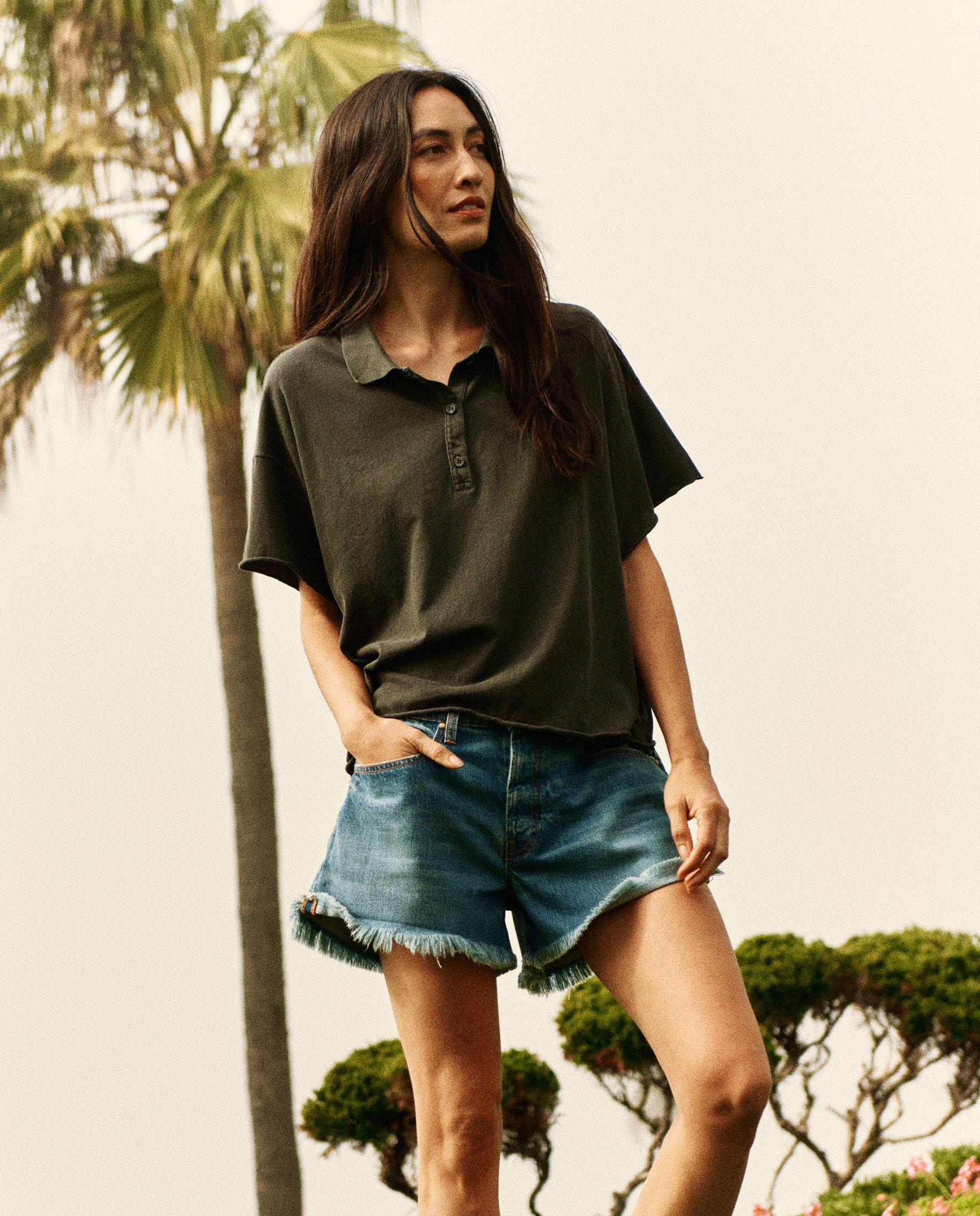 The Cropped Polo Tee. -- Washed Black