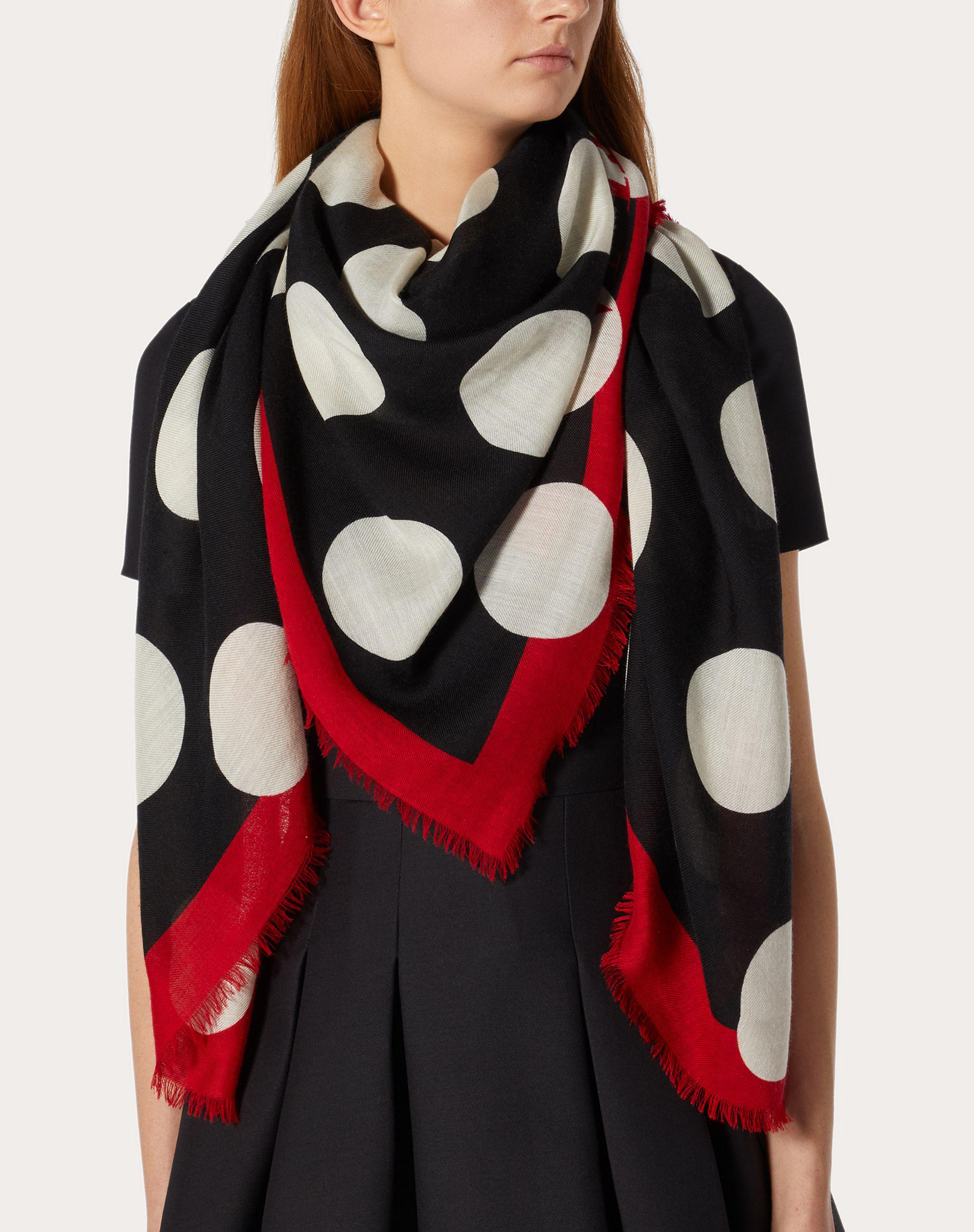 Dots print cashmere and silk shawl 140x140 cm / 55.1x55.1 in. 3