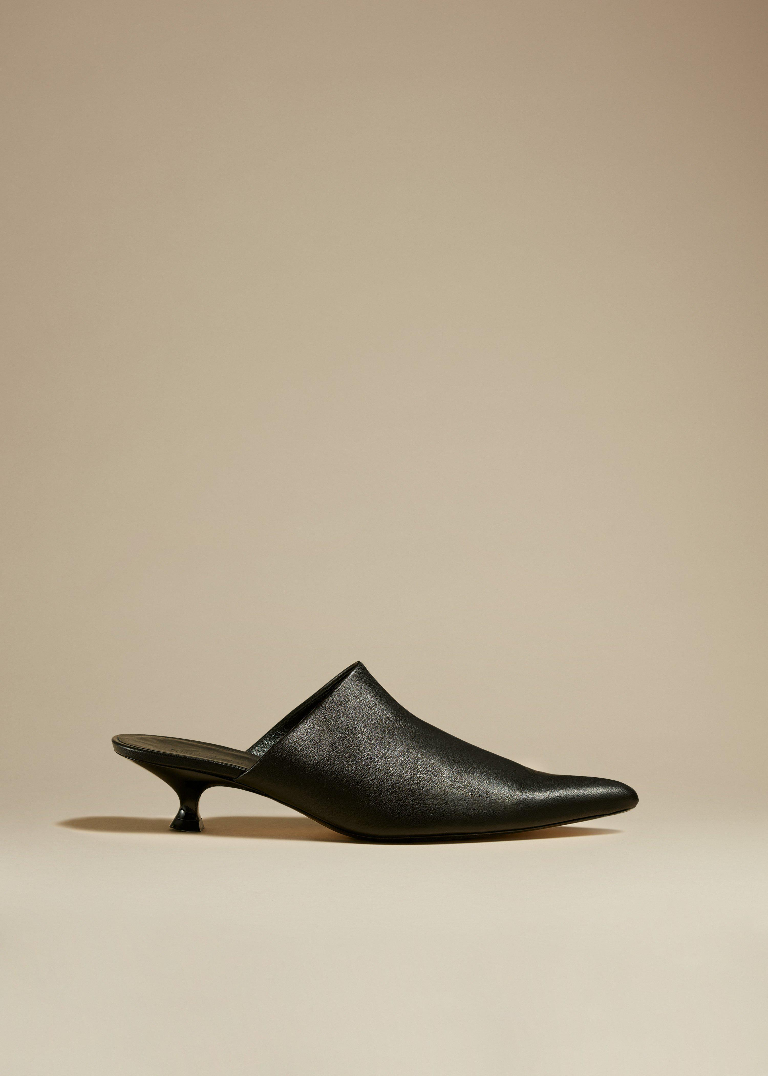 The Volosa Mule in Black Leather