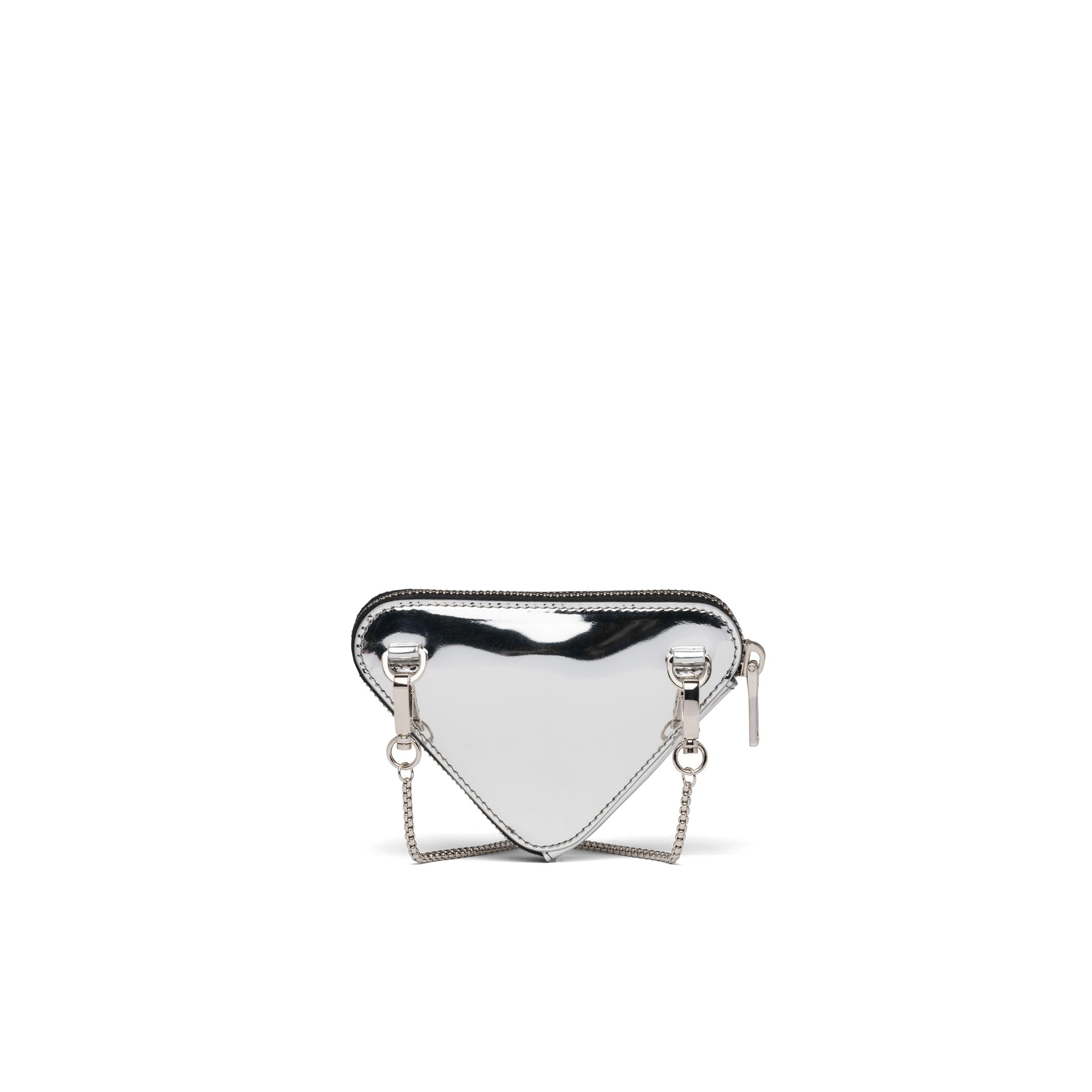 Brushed Leather Mini-pouch Women Silver 1