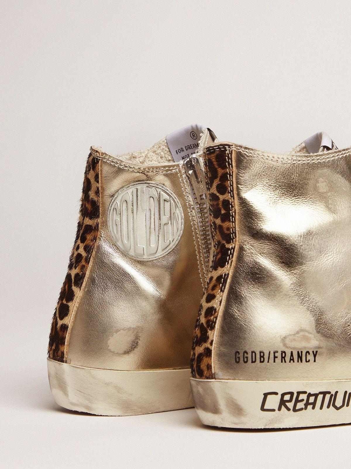 Gold Francy sneakers with handwritten lettering and leopard-print detail 3