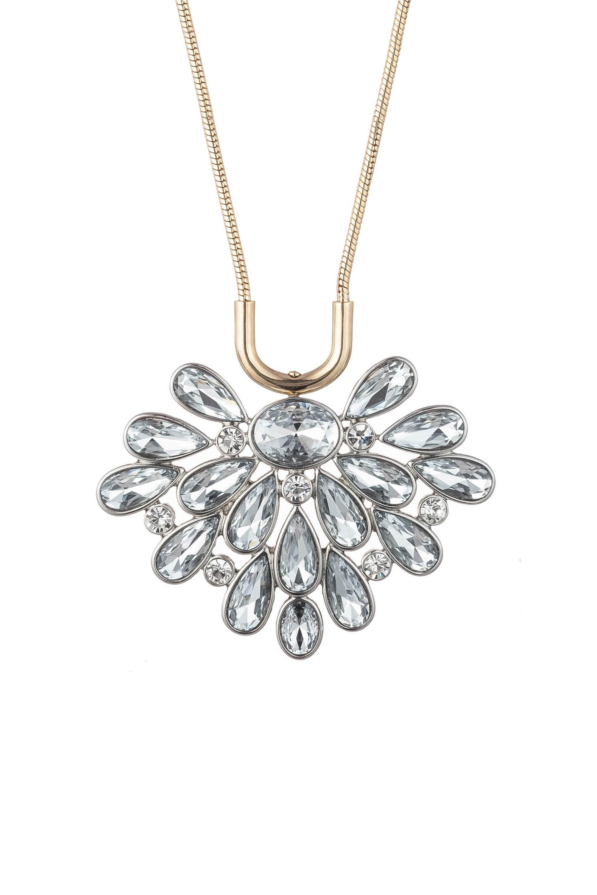 ANOTHER ROUND FLORAL STONE BURST PENDANT