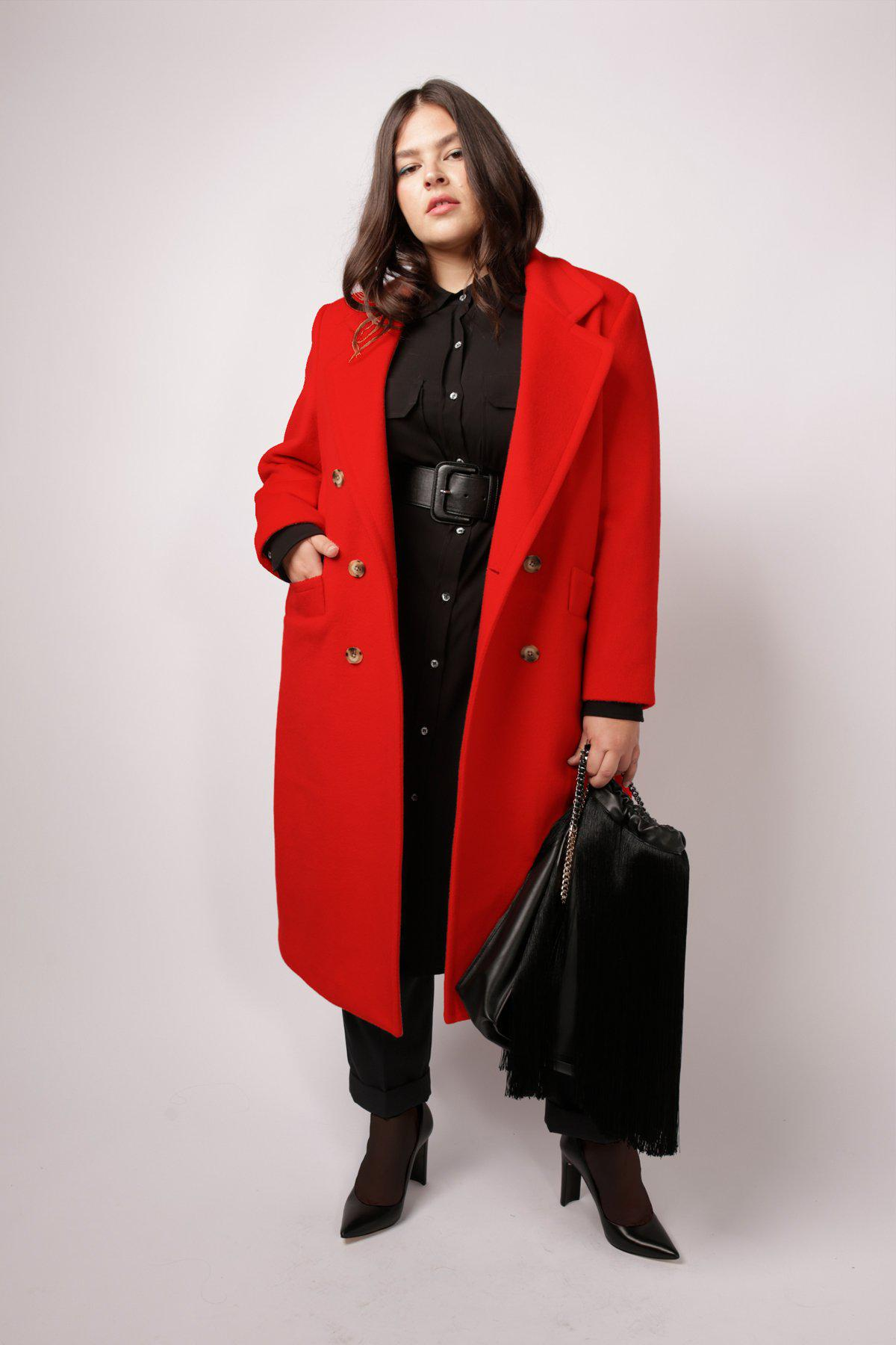 Double Breasted Car Coat - Red Red