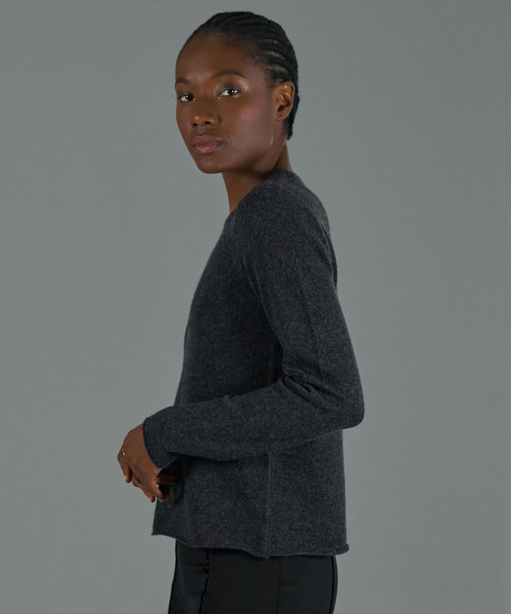 Cashmere Crew Neck Sweater - Charcoal 1