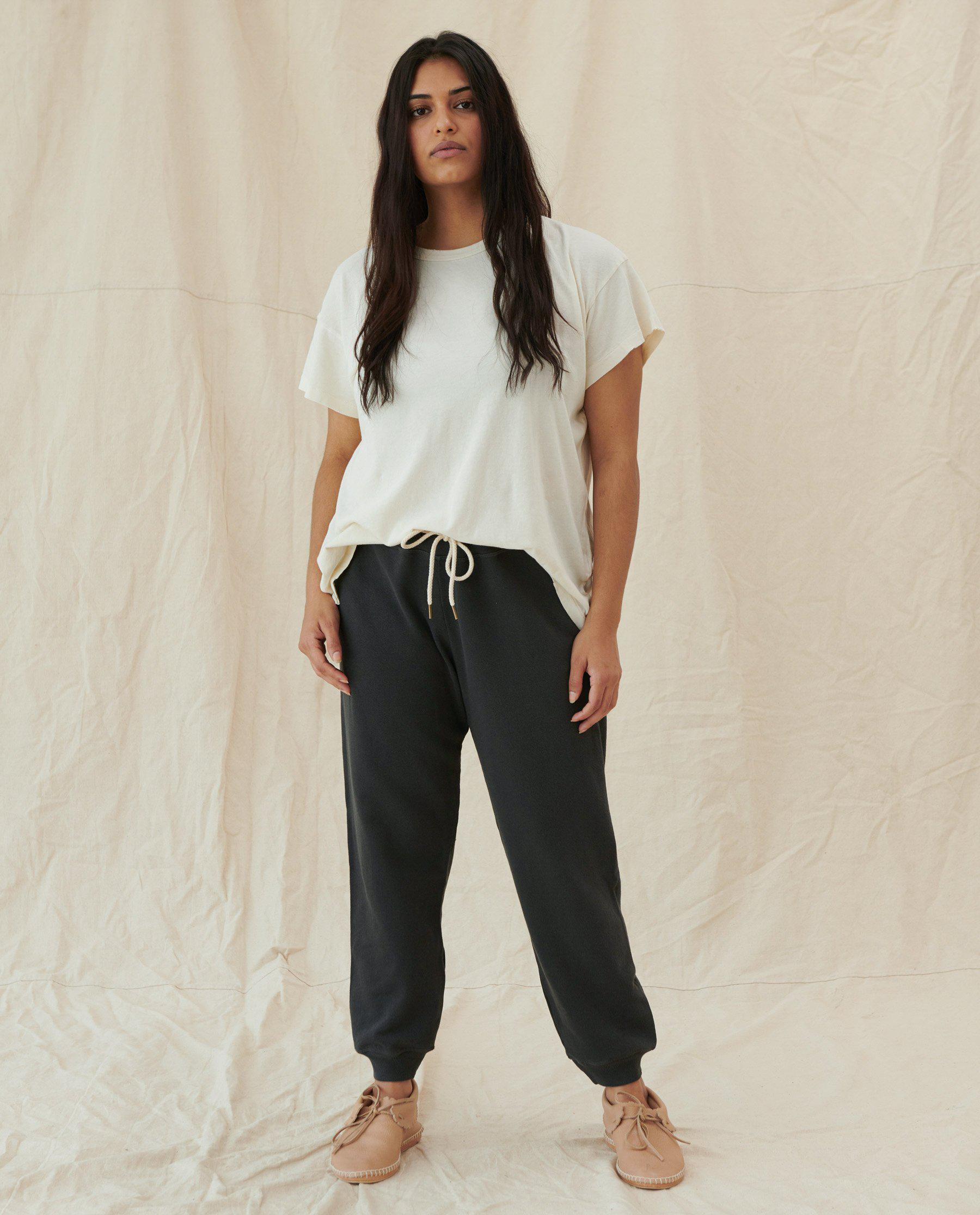 The Cropped Sweatpant. Solid -- Washed Black 4
