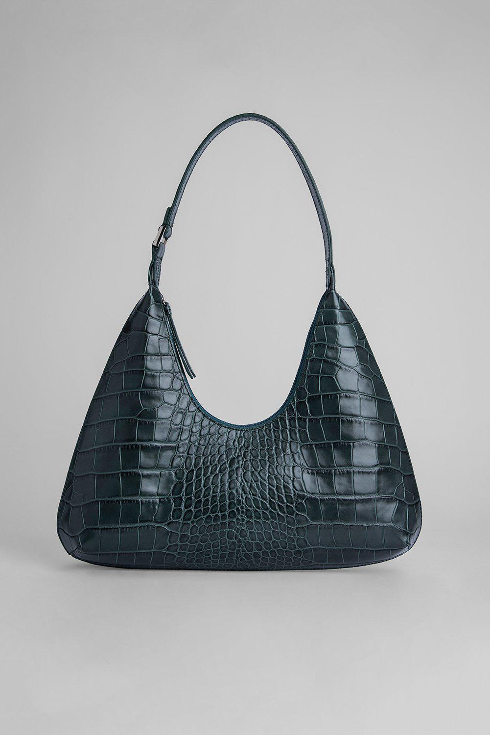 Amber Green Croco Embossed Leather