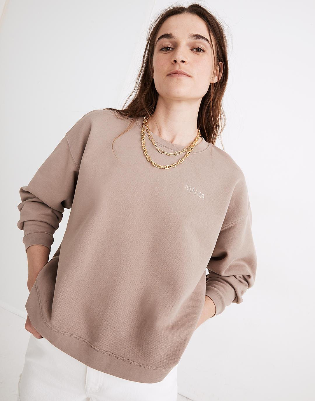 Mama Embroidered (Re)sourced Cotton Swing Sweatshirt