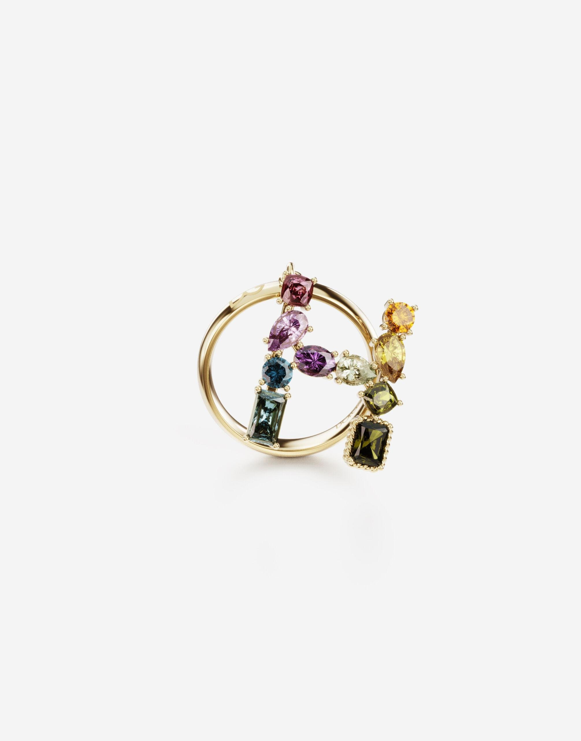 Rainbow alphabet H ring in yellow gold with multicolor fine gems