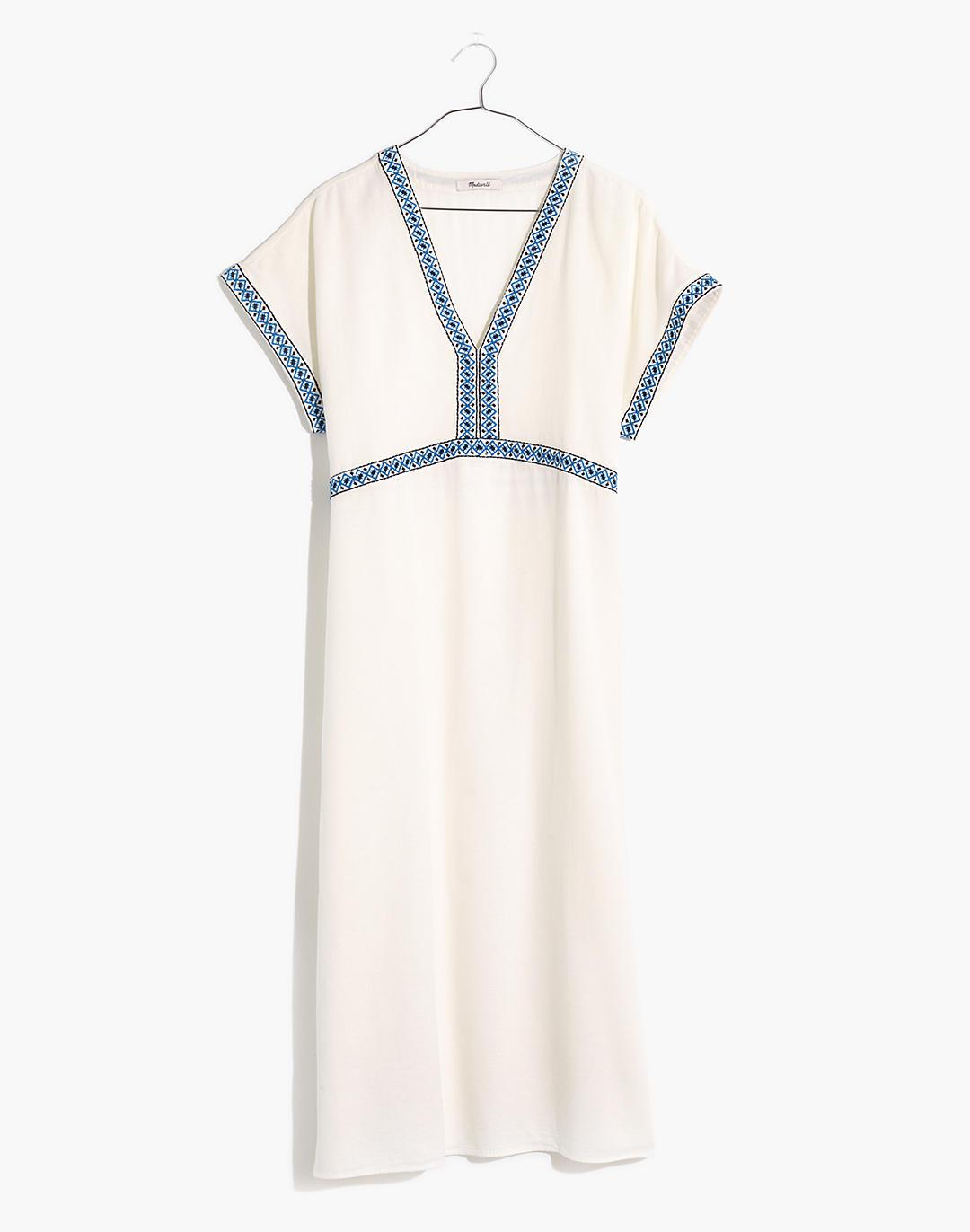 Embroidered Midi Tunic Cover-Up Dress