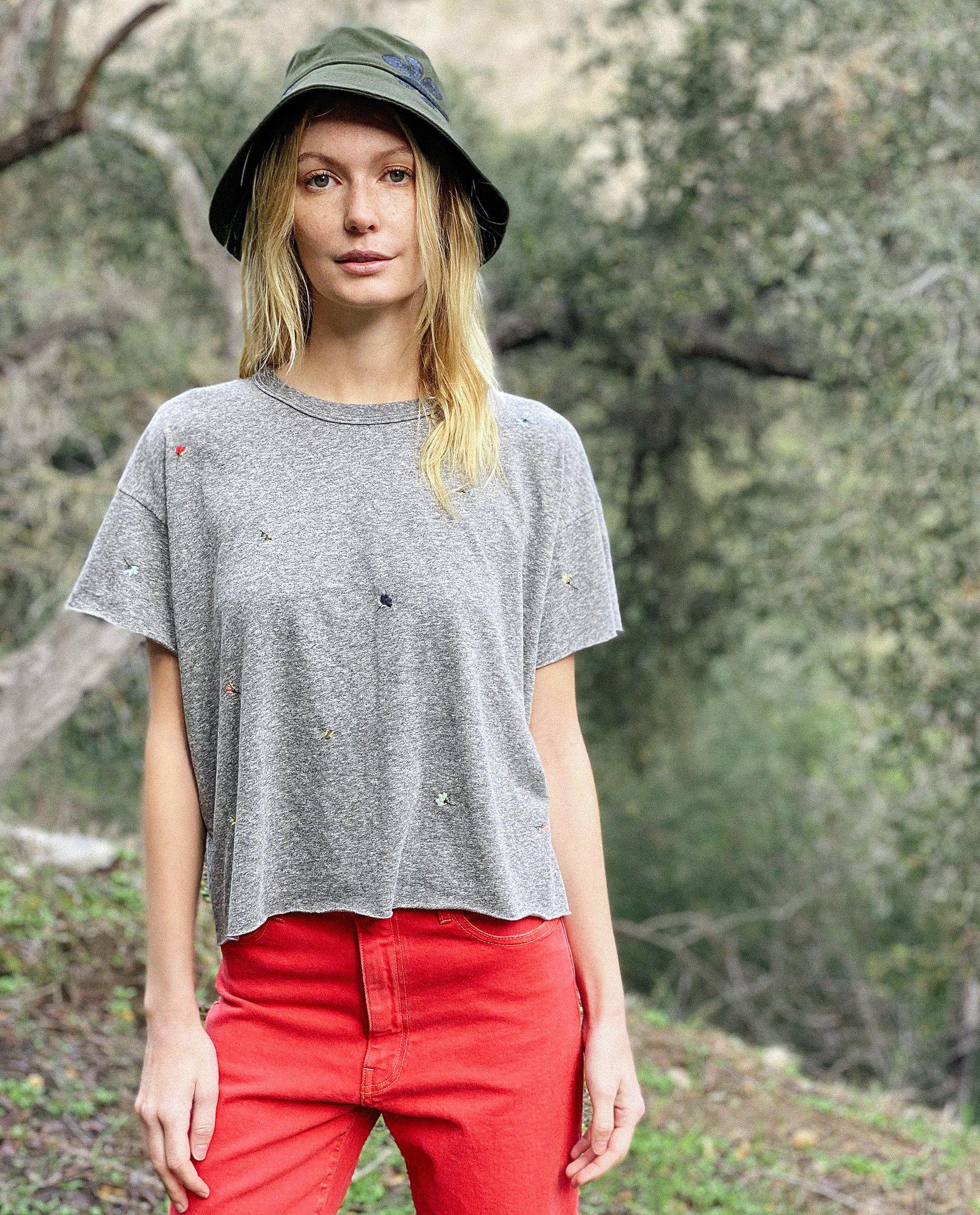 The Crop Tee. Embroidered -- Heather Grey with Tossed Floral Embroidery