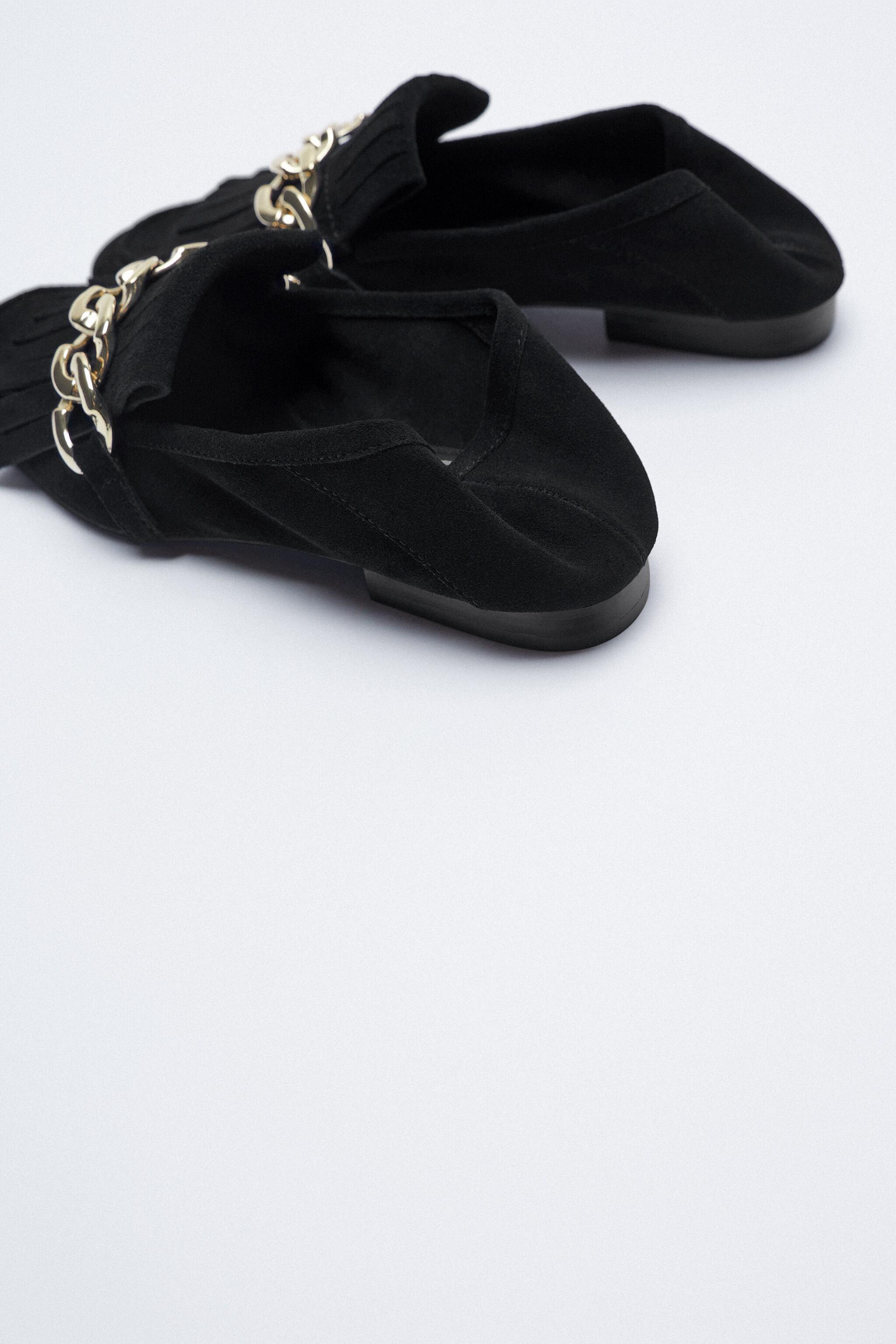 FRINGED SPLIT LEATHER MOCCASINS WITH CHAIN 9