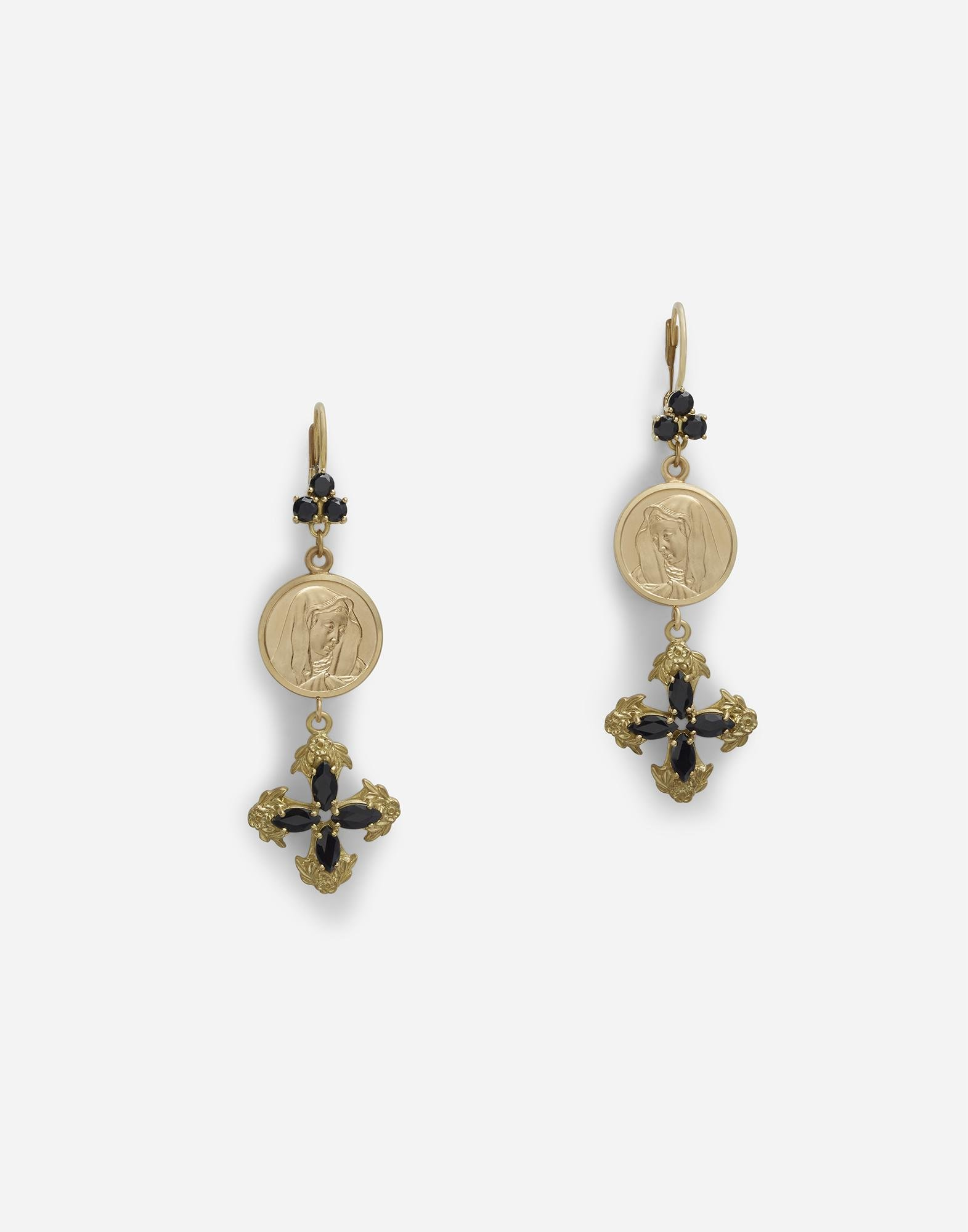 Drop earrings with sapphires