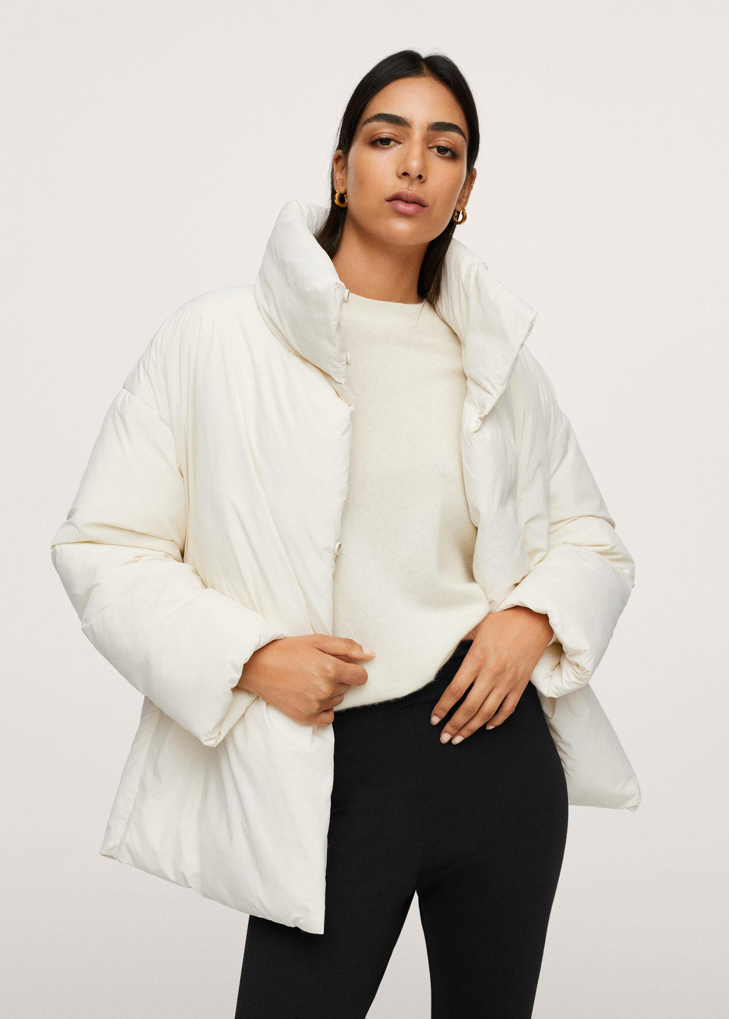 Long collar quilted coat