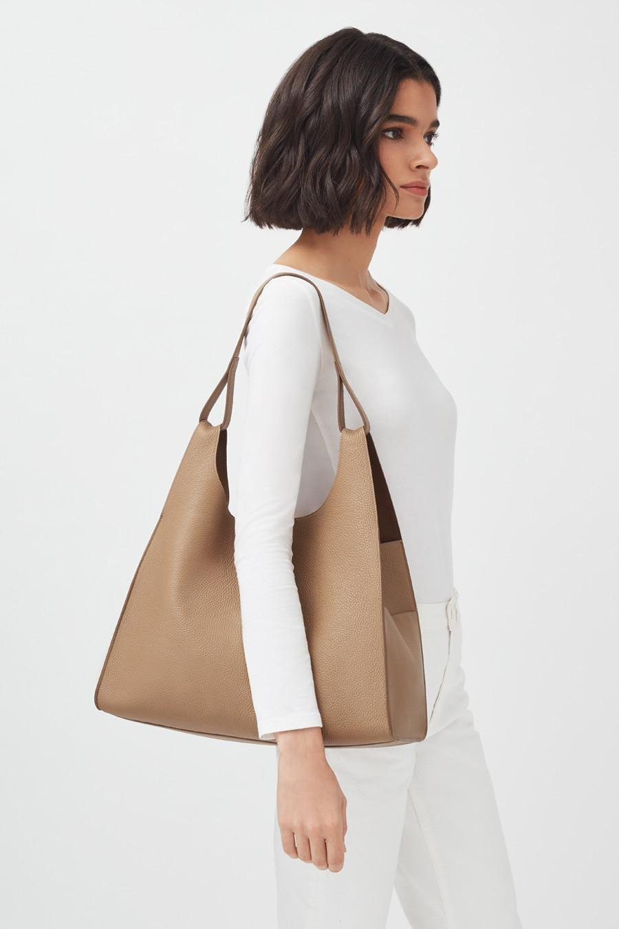 Women's Oversized Double Loop Bag in Cappuccino | Pebbled Leather by Cuyana 5
