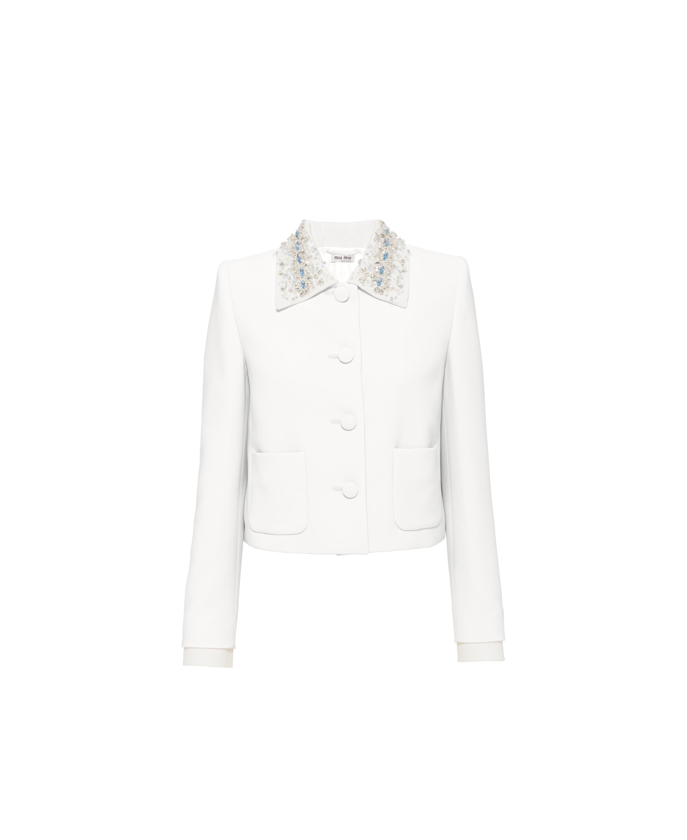 Single-breasted Embroidered Cady Jacket Women Chalk White