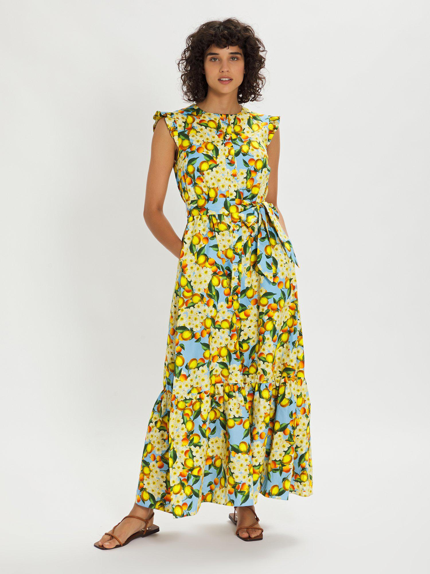 GABRIELLE YELLOW AND BLUE FLORAL MAXI DRESS
