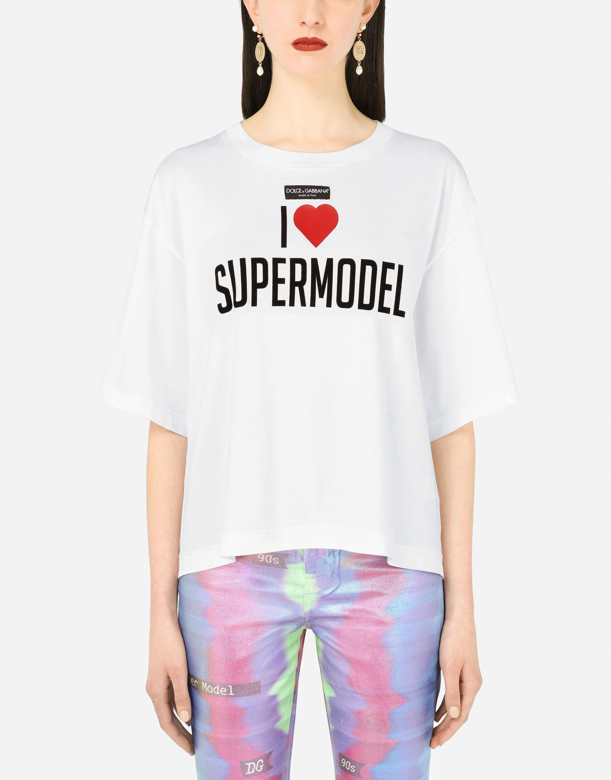 Jersey T-shirt with I love super model print