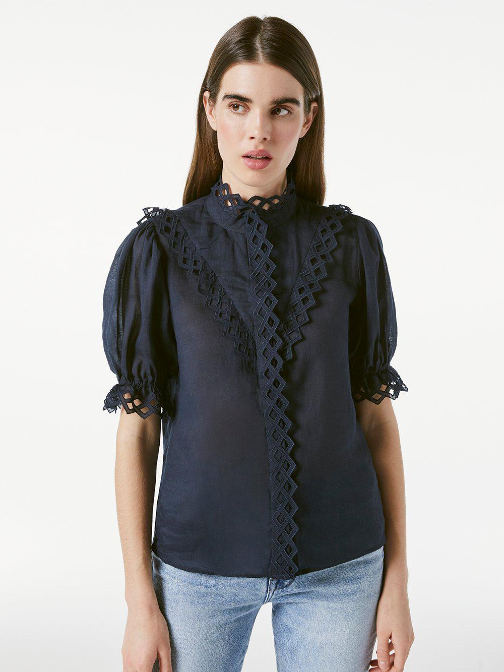 Embroidered High Neck Short Sleeve -- Navy