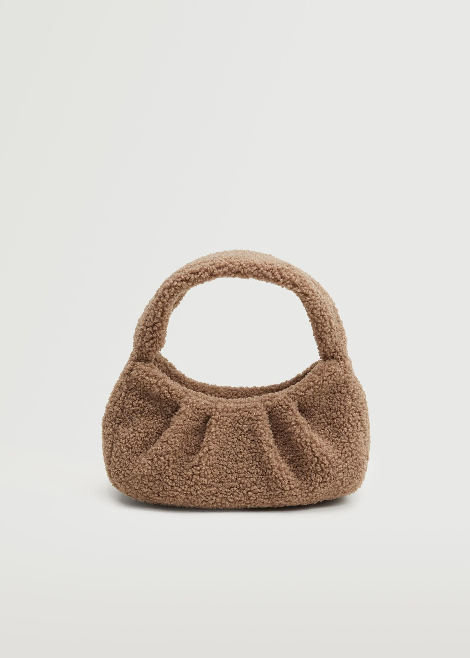 Textured faux-shearling bag