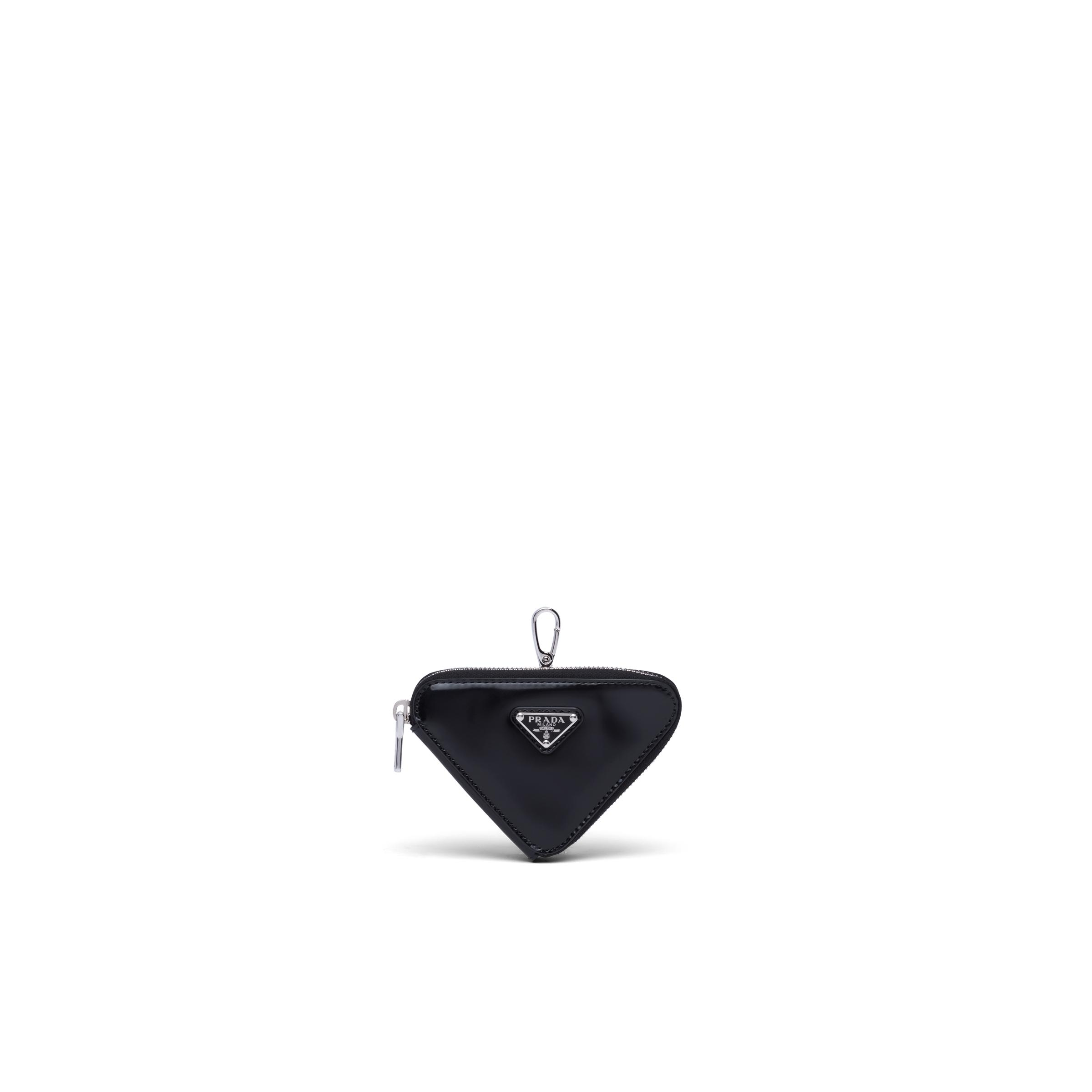 Brushed Leather Triangle Mini-pouch Women Black