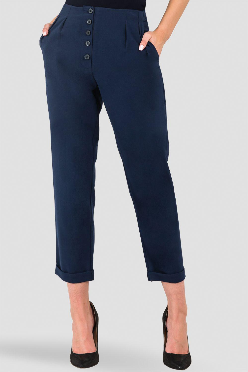 Francine Midnight Blue Hollywood Waist Cropped Button-Up Carrot Trouser Pants