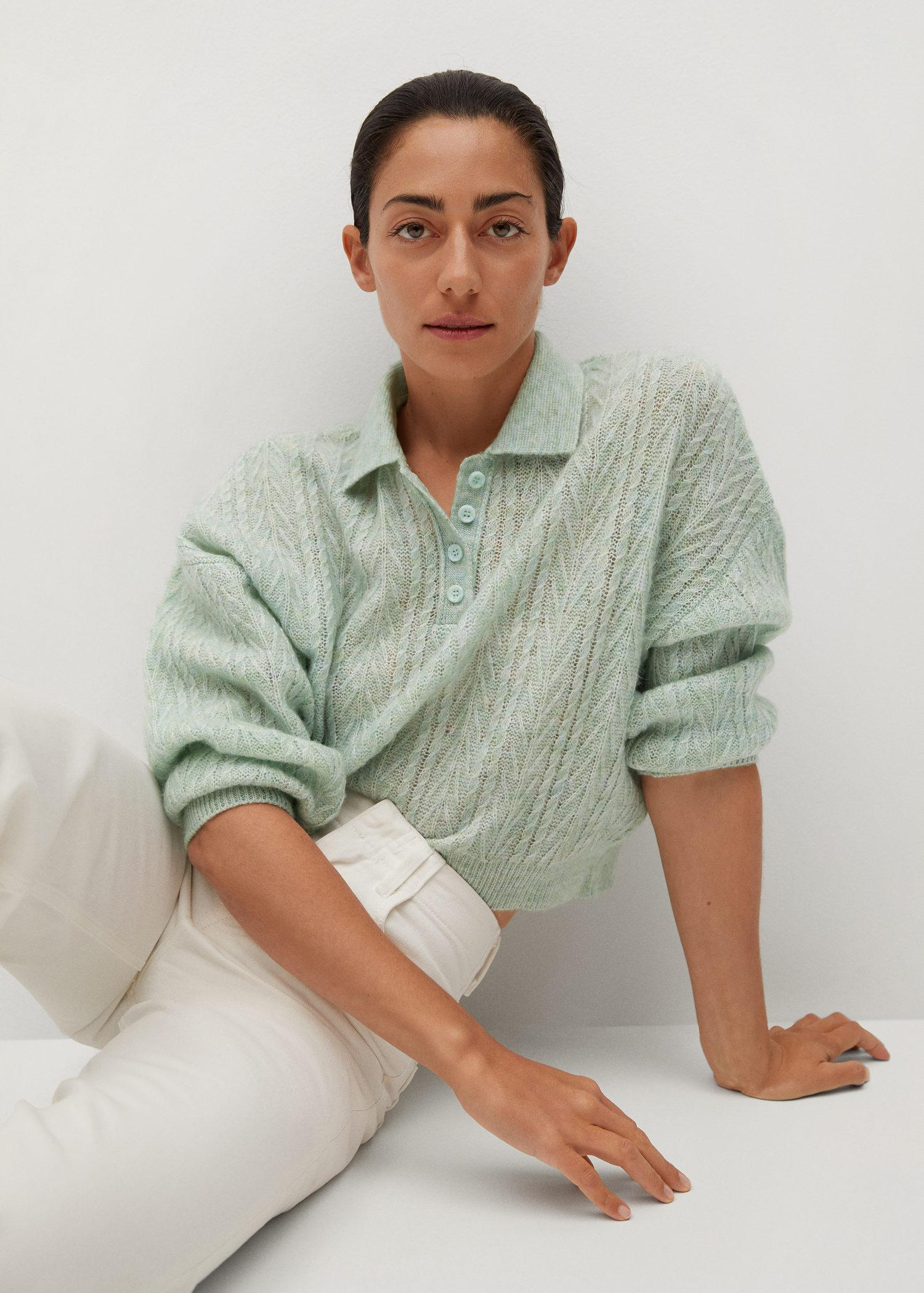 Contrasting knitted polo shirt 5