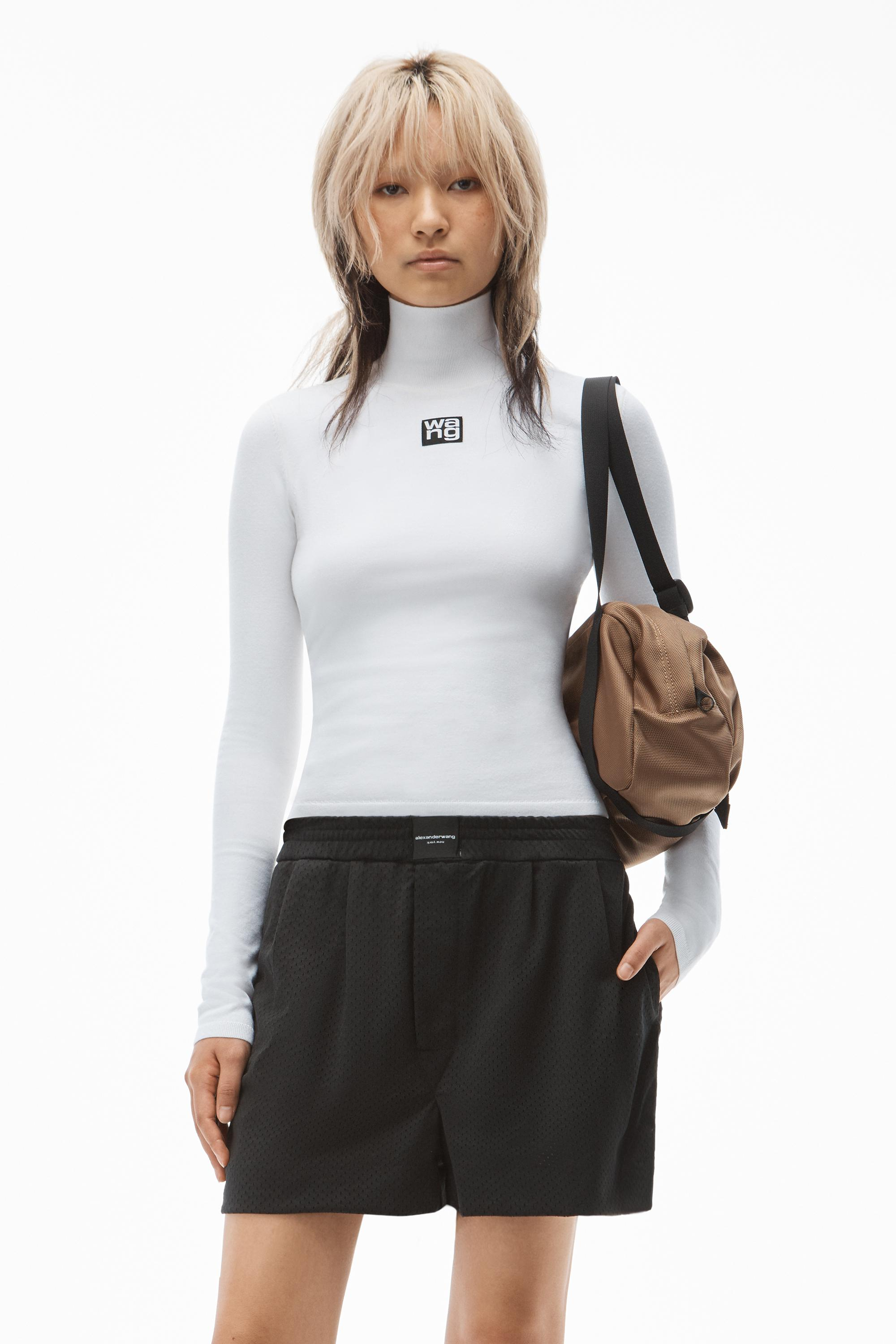 turtleneck top in stretch knit