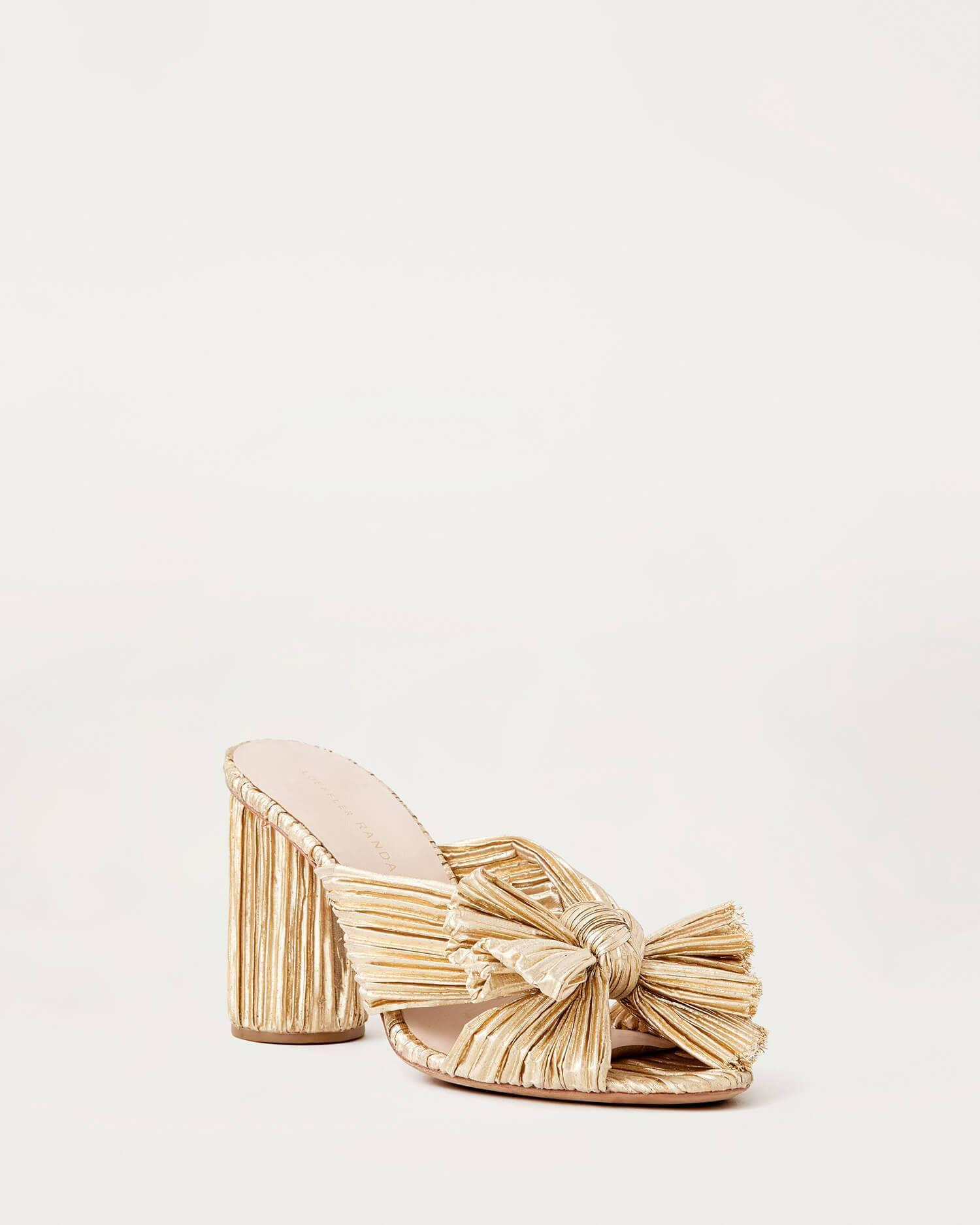 Penny Gold Pleated Bow Heel