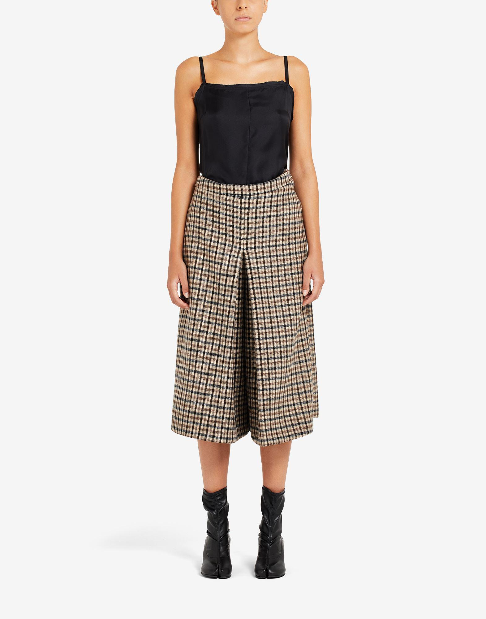 Checked and Twill Silk Dress