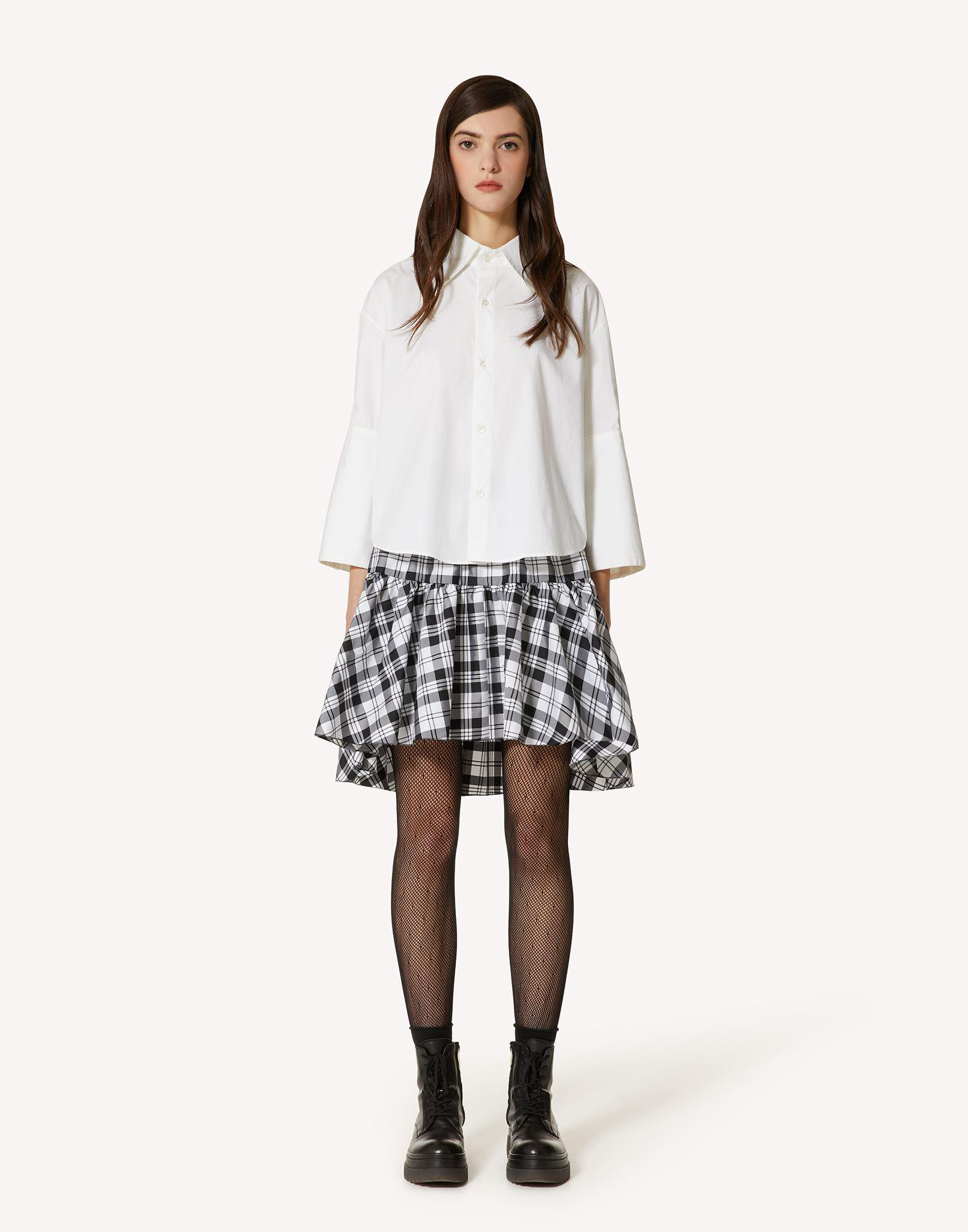 THE BLACK TAG. - COTTON POPLIN SHIRT WITH POINT D'ESPRIT TULLE