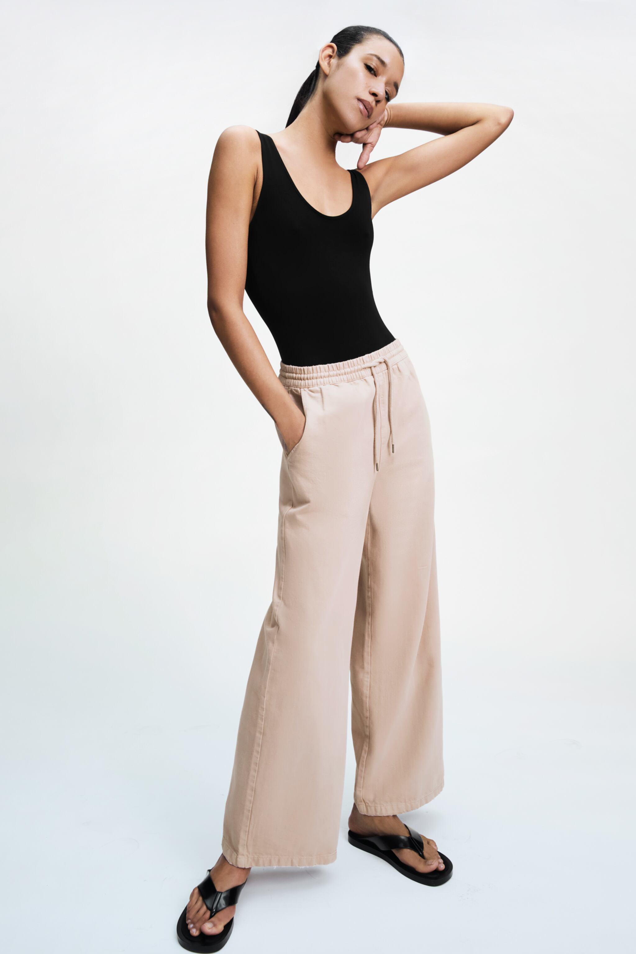 WASHED EFFECT WIDE LEG PANTS