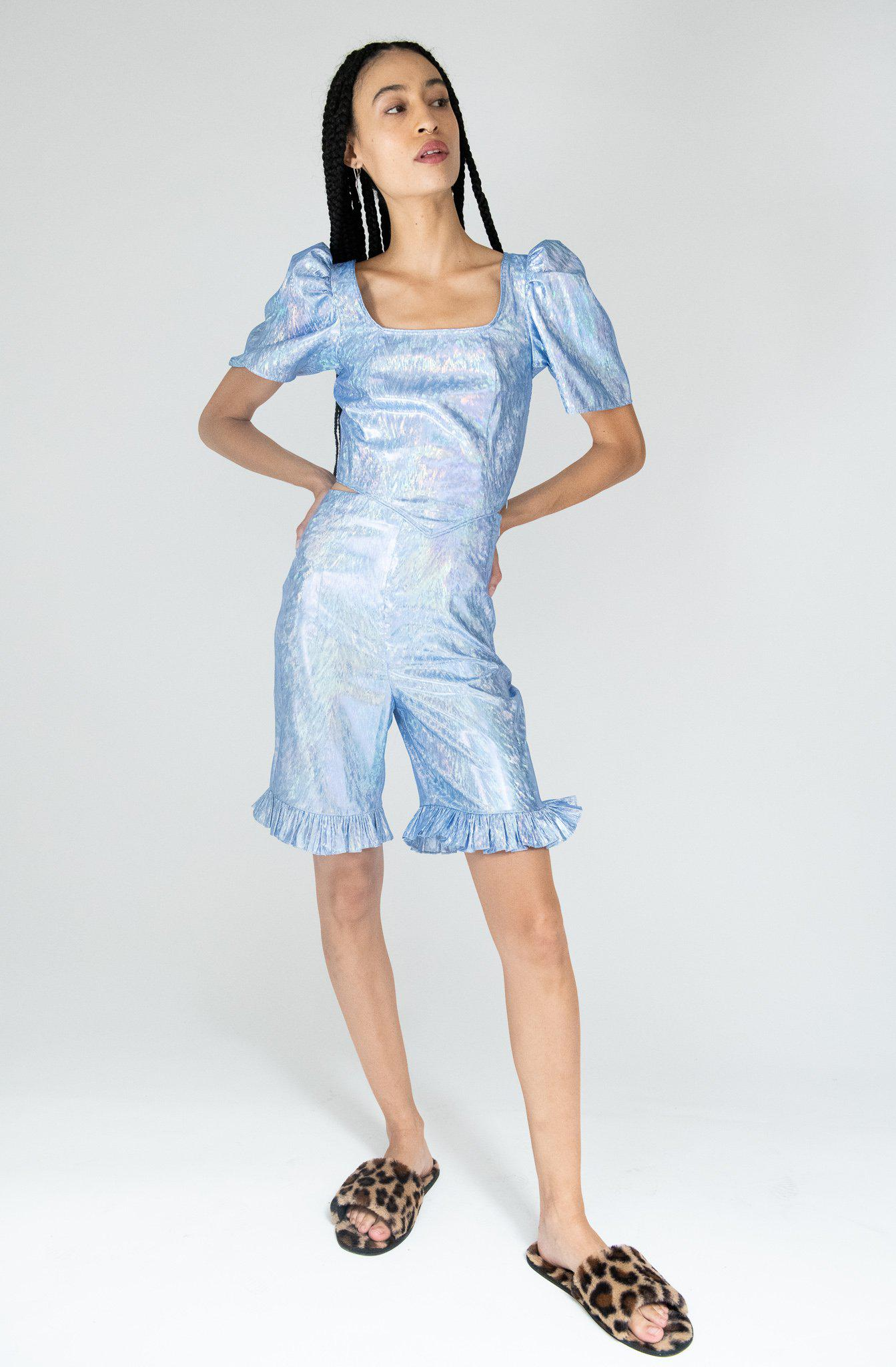 Ruffle Short in Blue Holographic Lamé