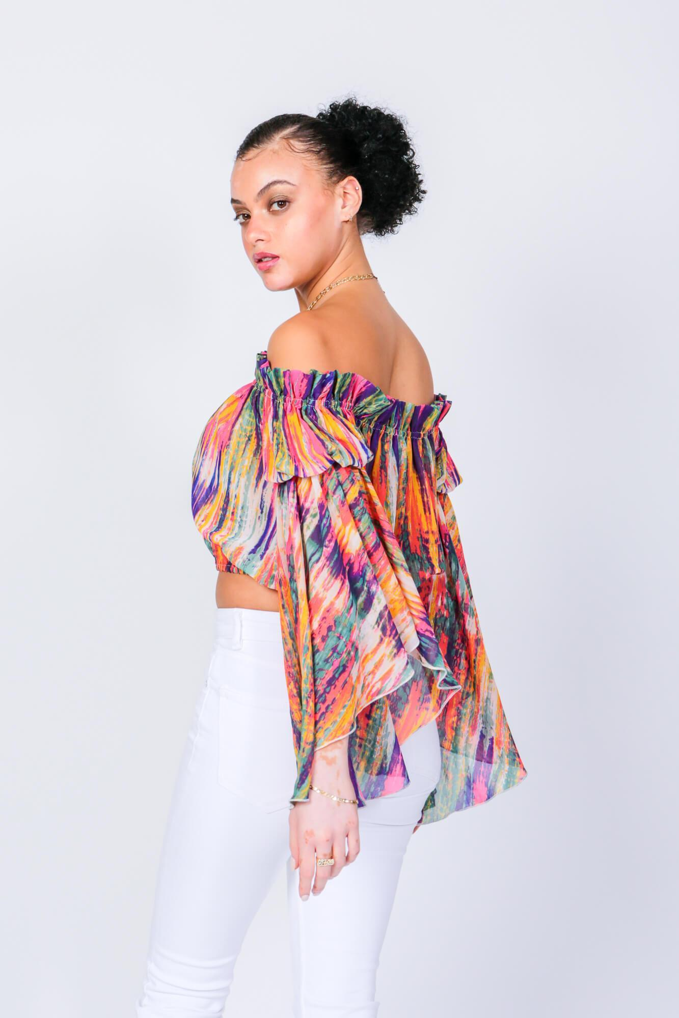 Bright Stripe Brittney Off The Shoulder Bell Sleeve Top 4