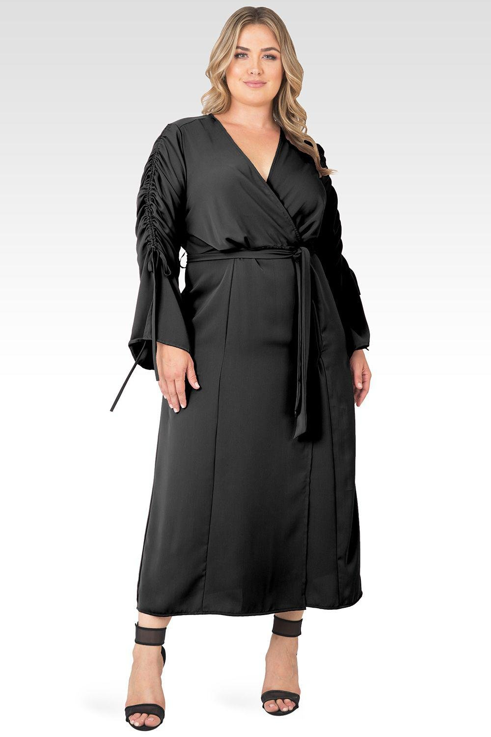 Plus Size Violeta Solid Black Ruched Sleeves Wrap Maxi Dress