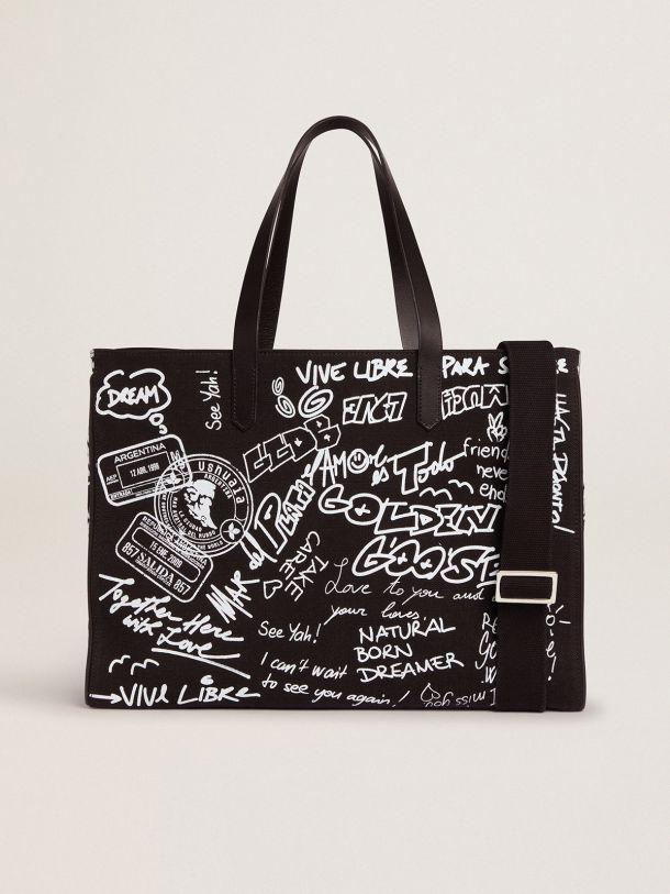 East-West California Bag in black canvas with graffiti