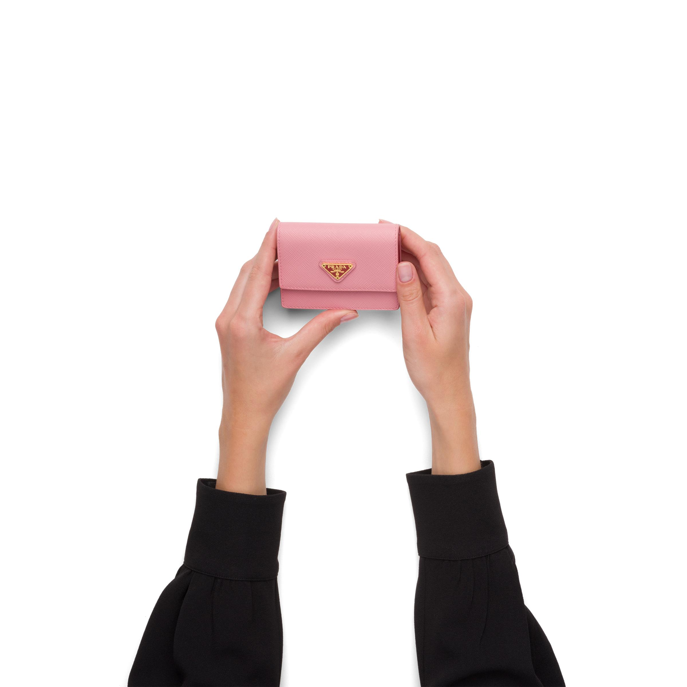 Saffiano Leather Card Holder With Chain Women Petal Pink/fiery Red 1